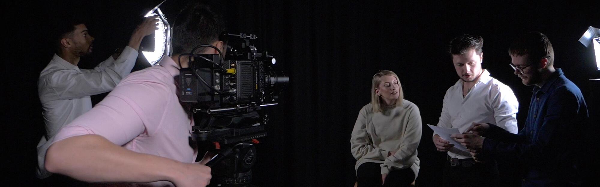 The Goldbox filming a presenter in a studio