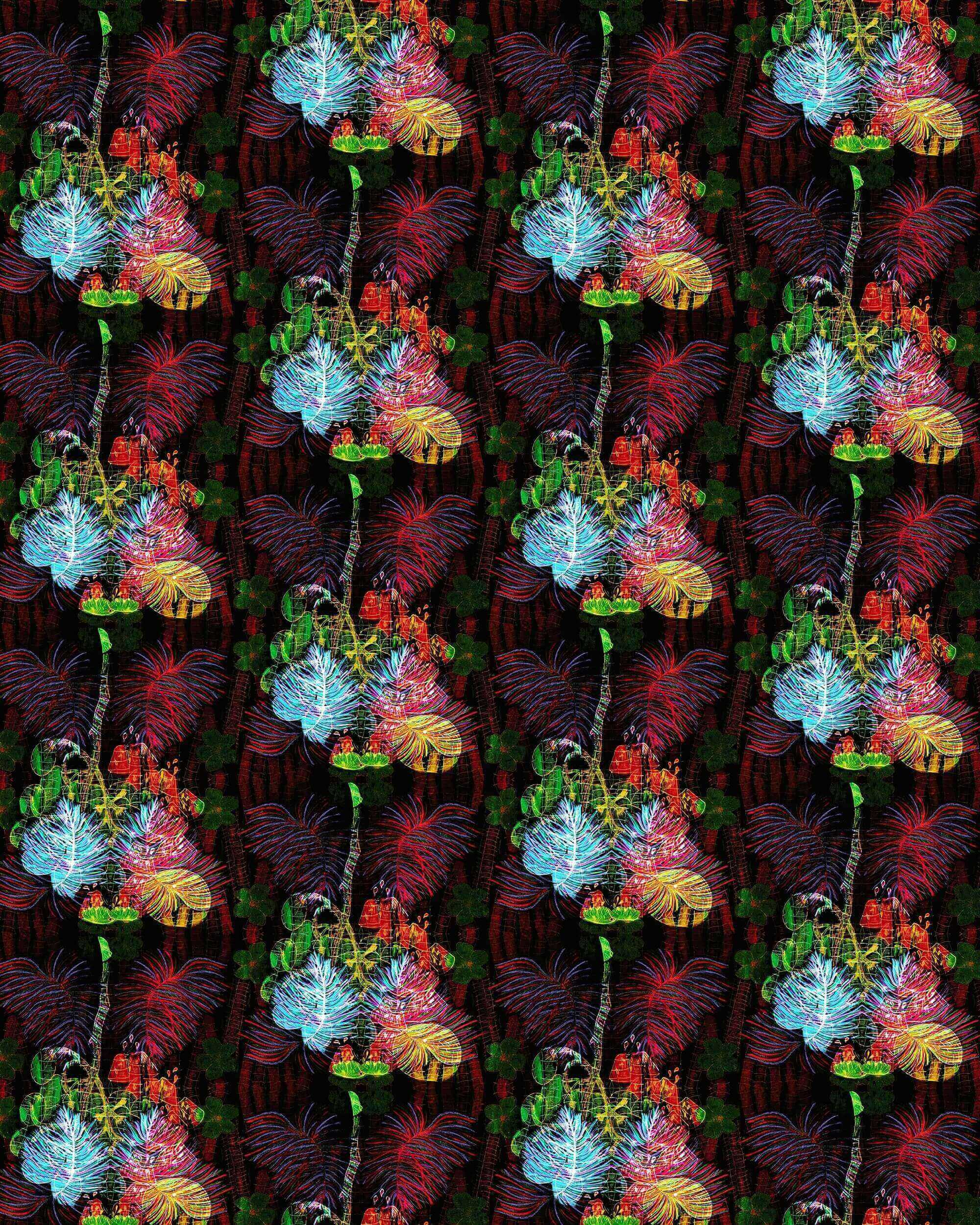 a digital print showing repeated pattern of a cluster of leaves and fruit