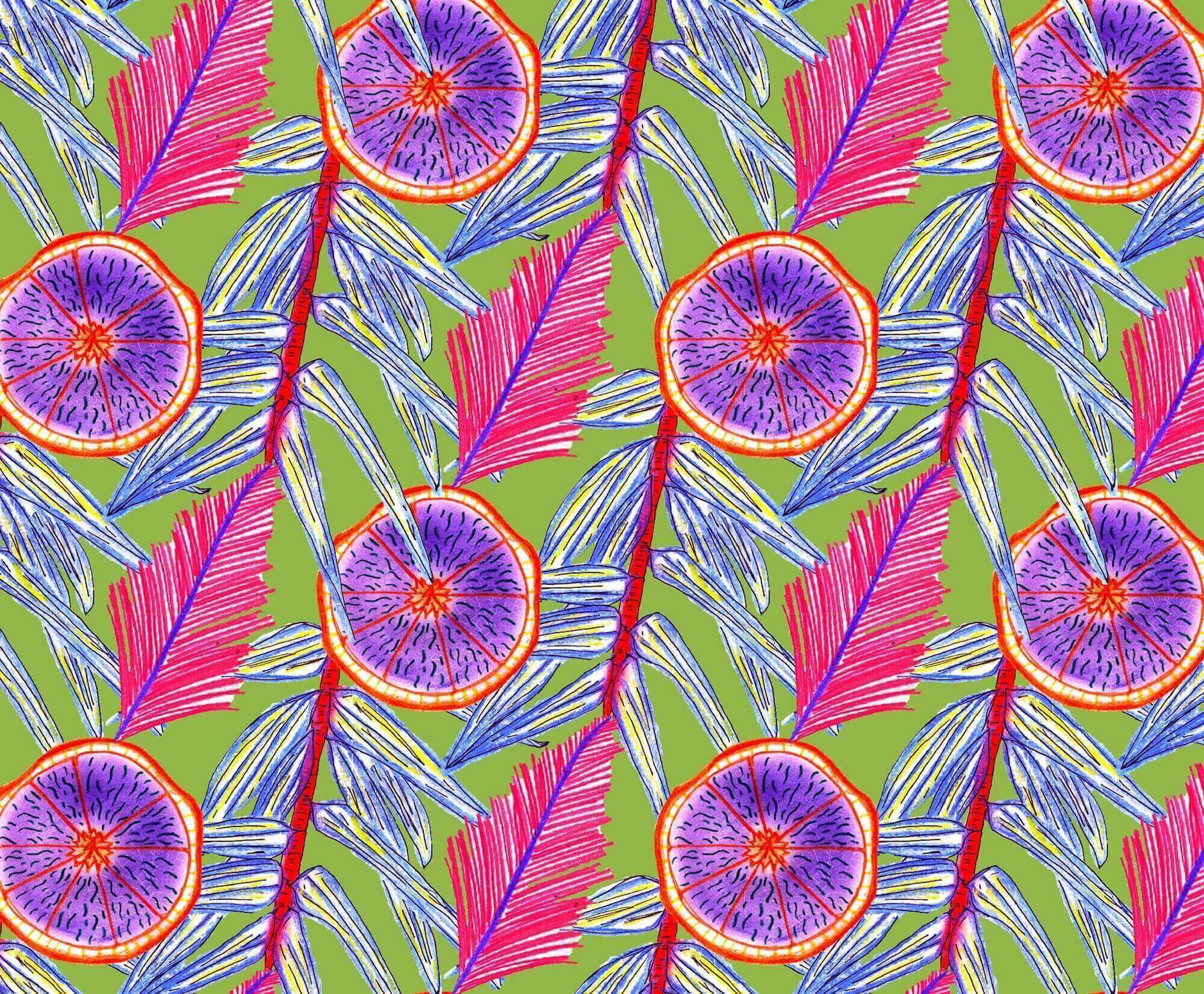 a digital print design of a repeated pattern of a branch with leaves, a palm frond and a split segmented fruit