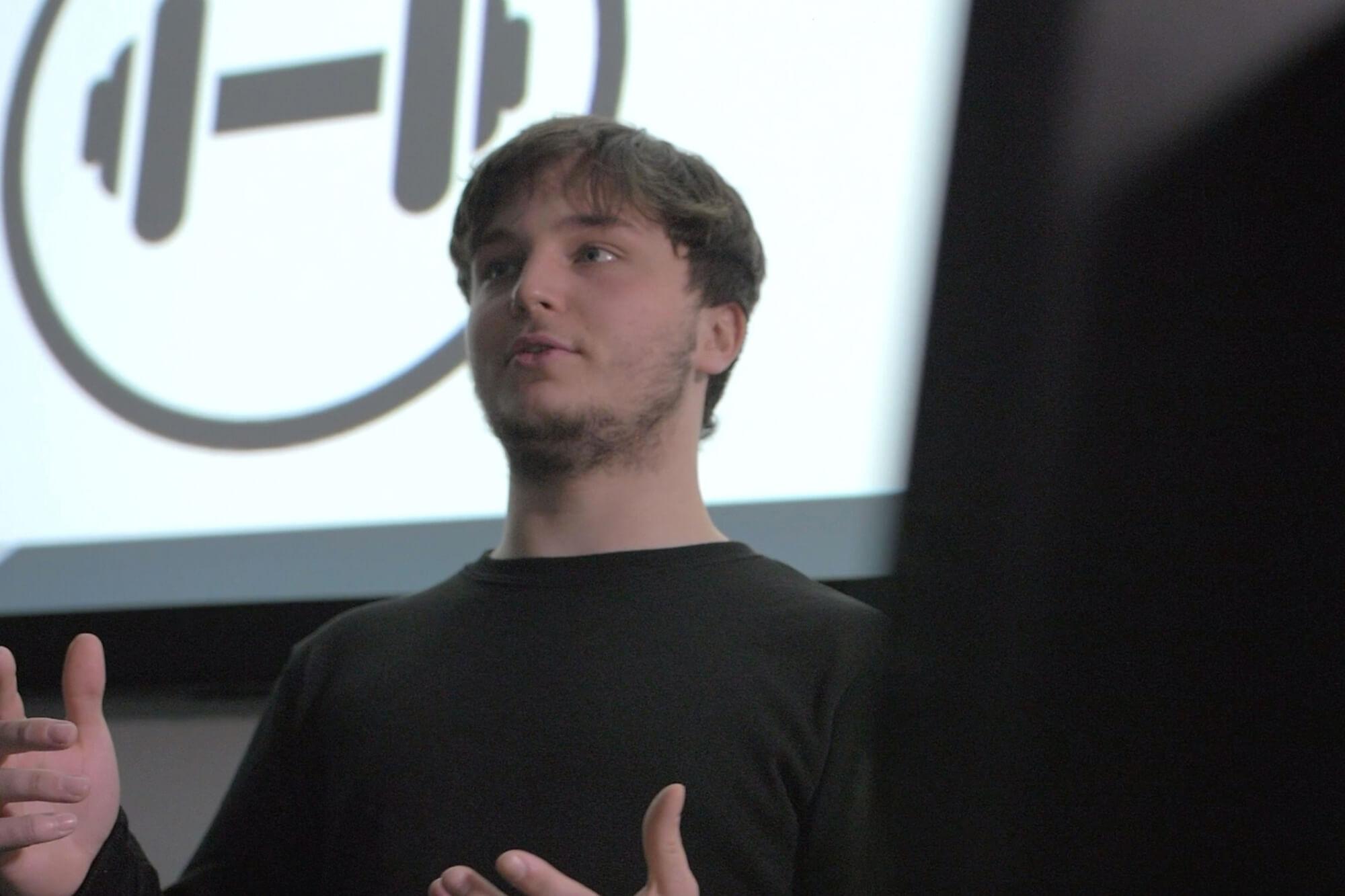 Tom Berrington presenting