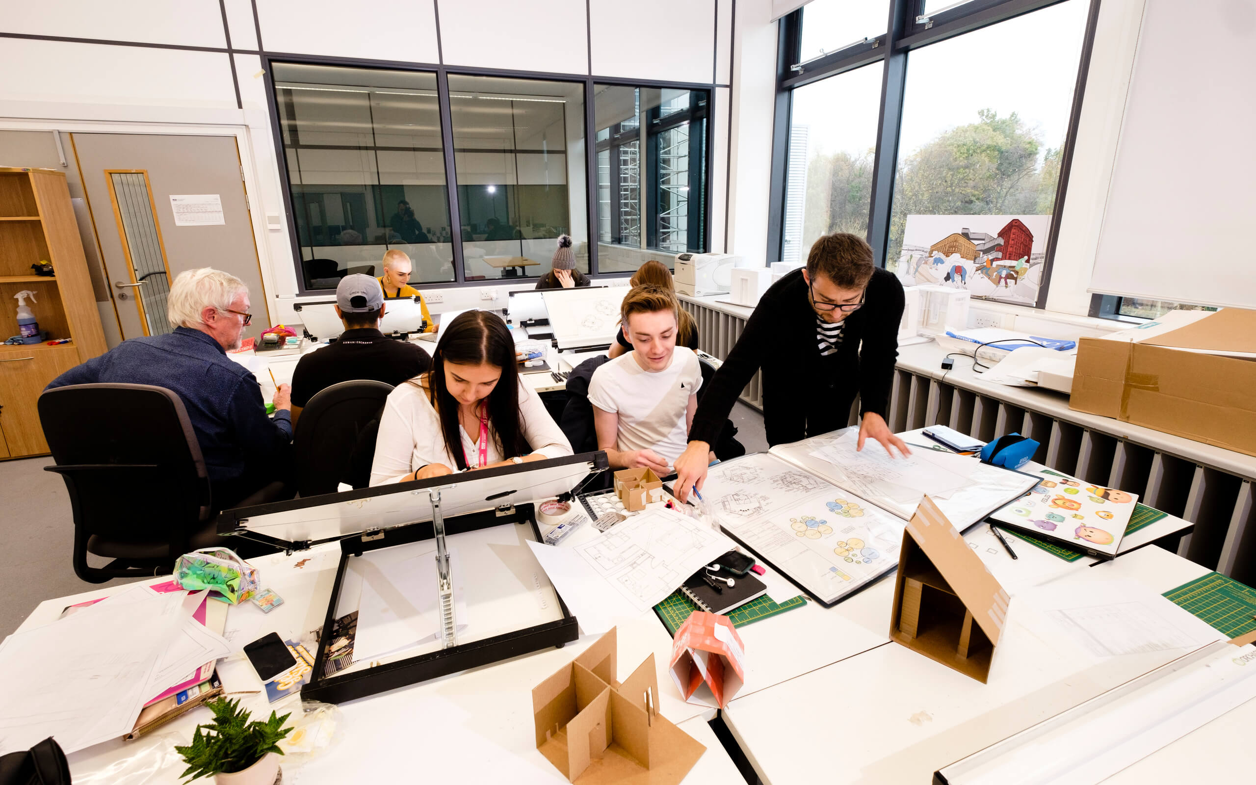 Students working in the Interior Design studio