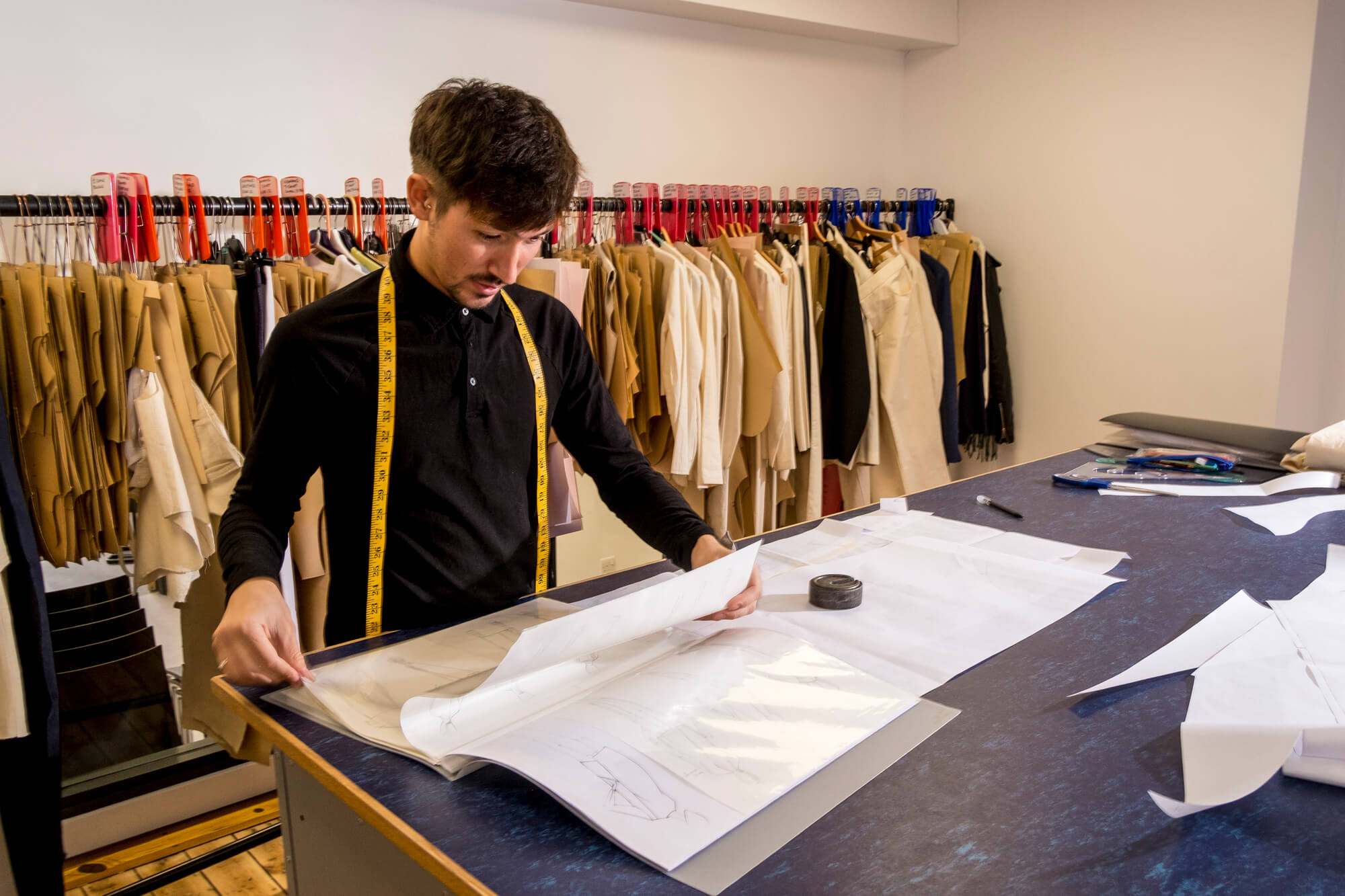 A student in the Fashion and Textiles studio at the Chandos Pole Street site