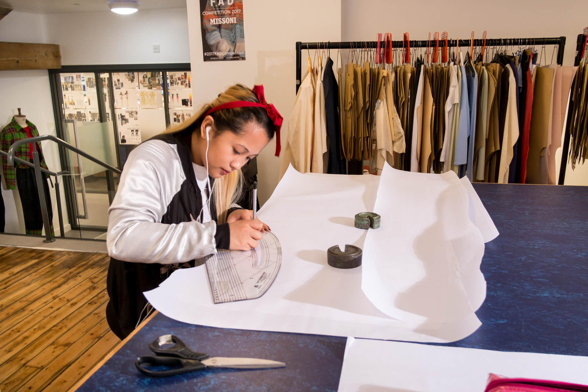 A student working in our fashion studios