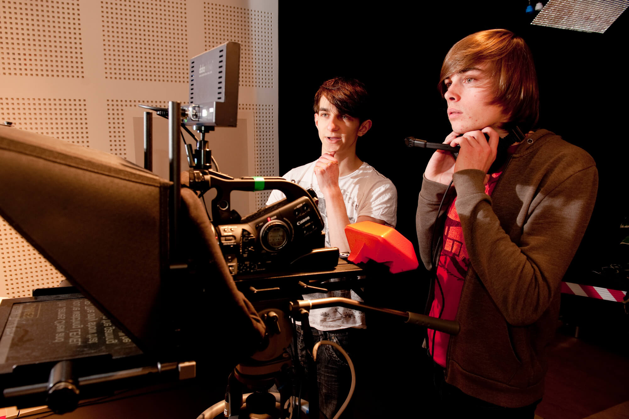 Students working in the film and television studio on the Markeaton Street site.