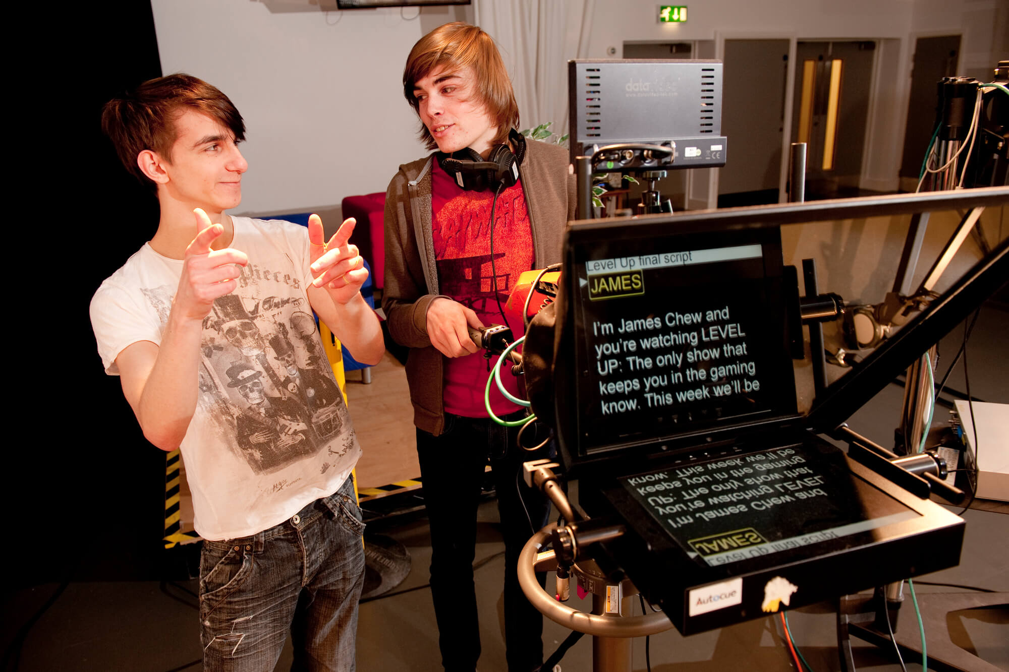Students working in the film and television studio