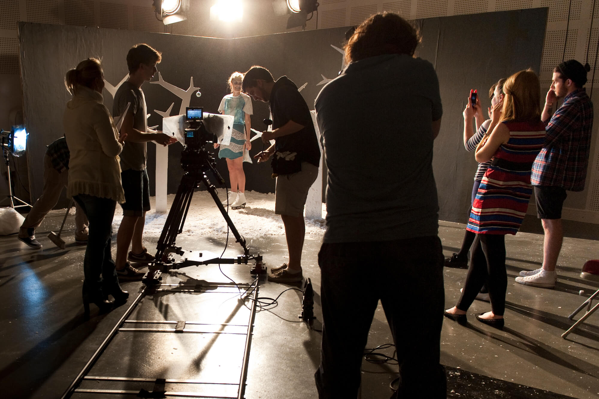 Students learning in the film and television studio on the Markeaton Street site.