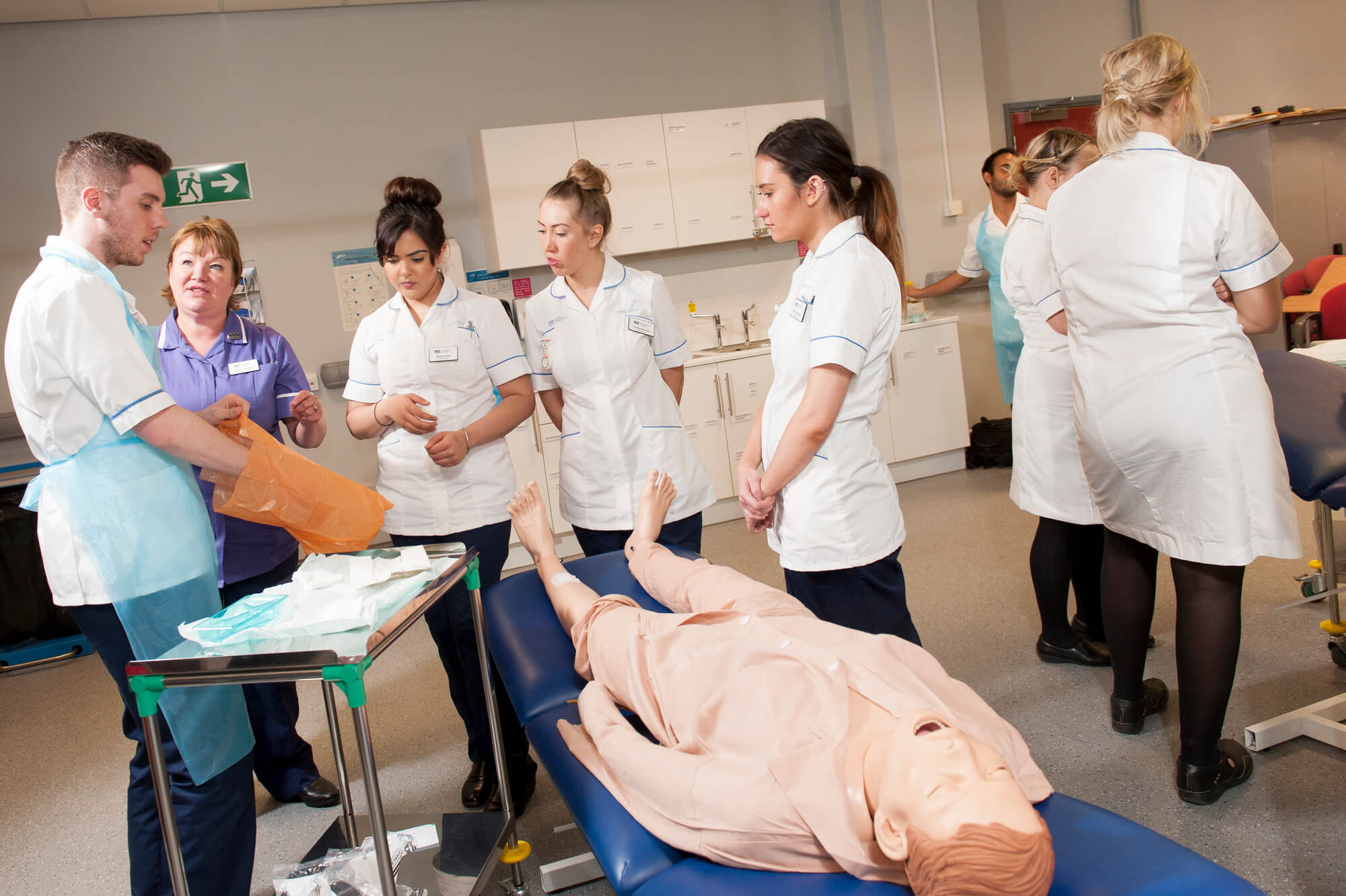 Artificial patients being used by nursing students