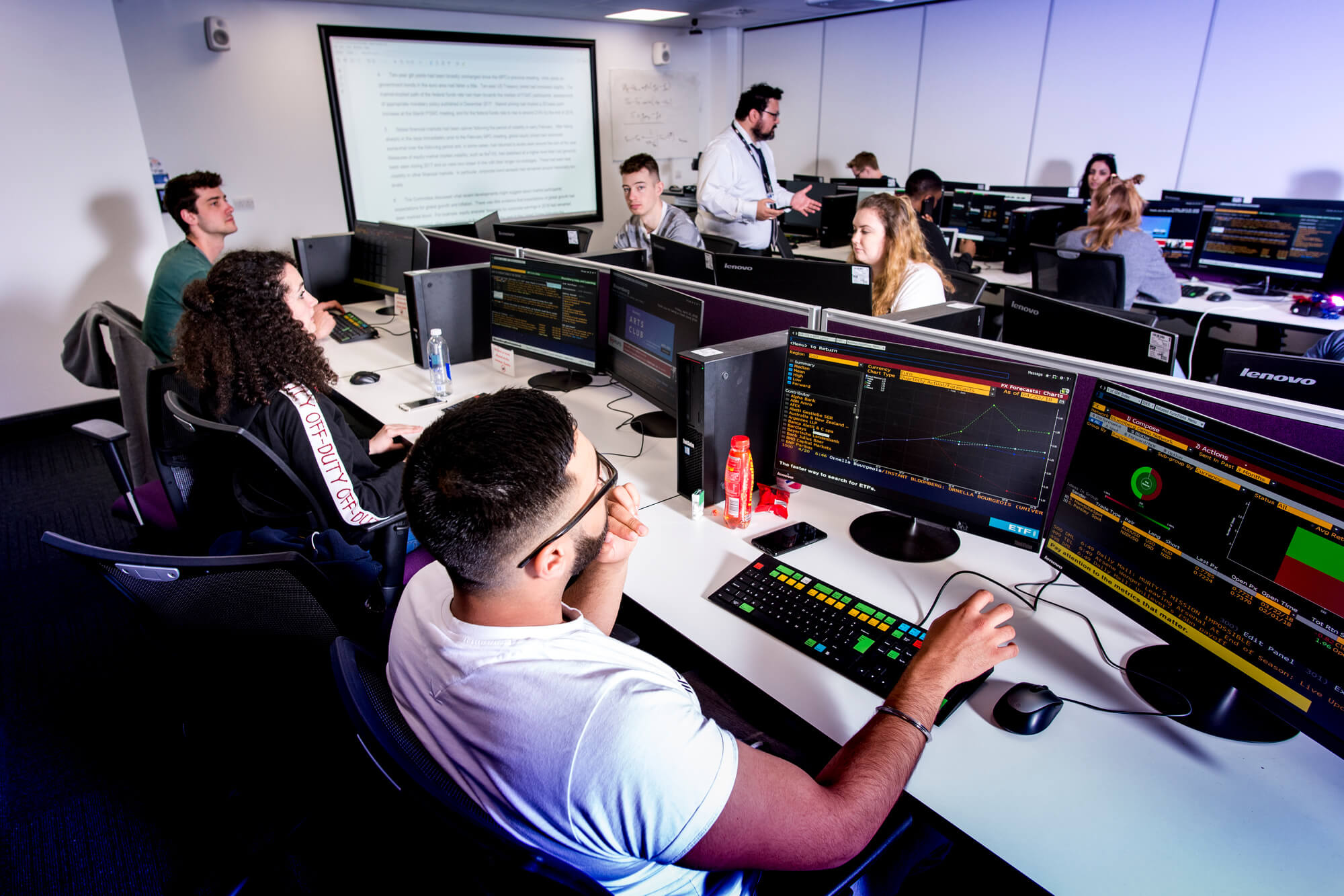 Students in a lecture in the Bloomberg room