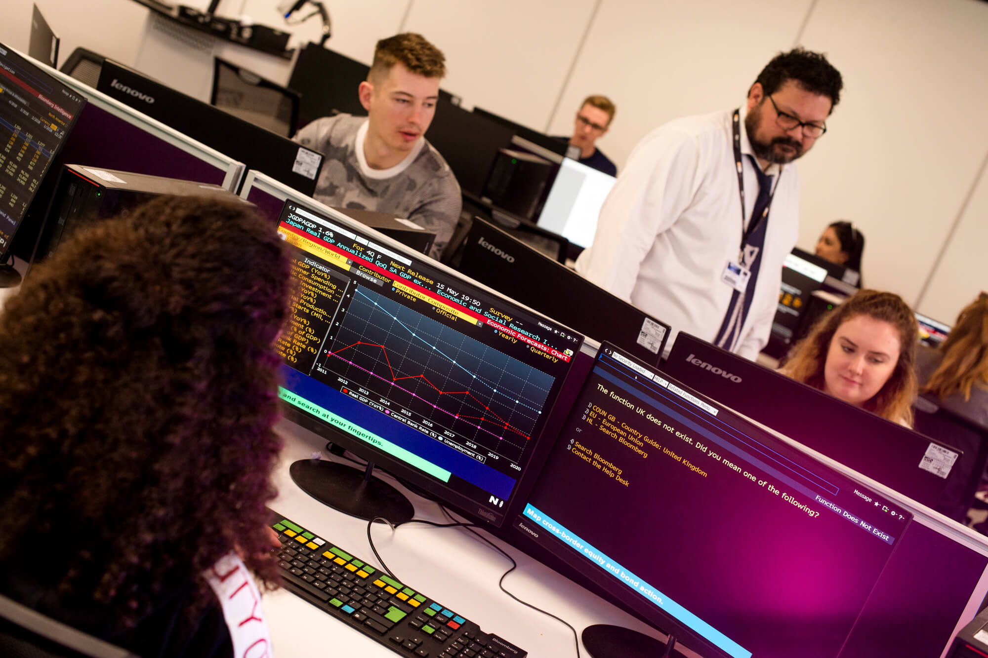 Teaching session in the Bloomberg Trading room