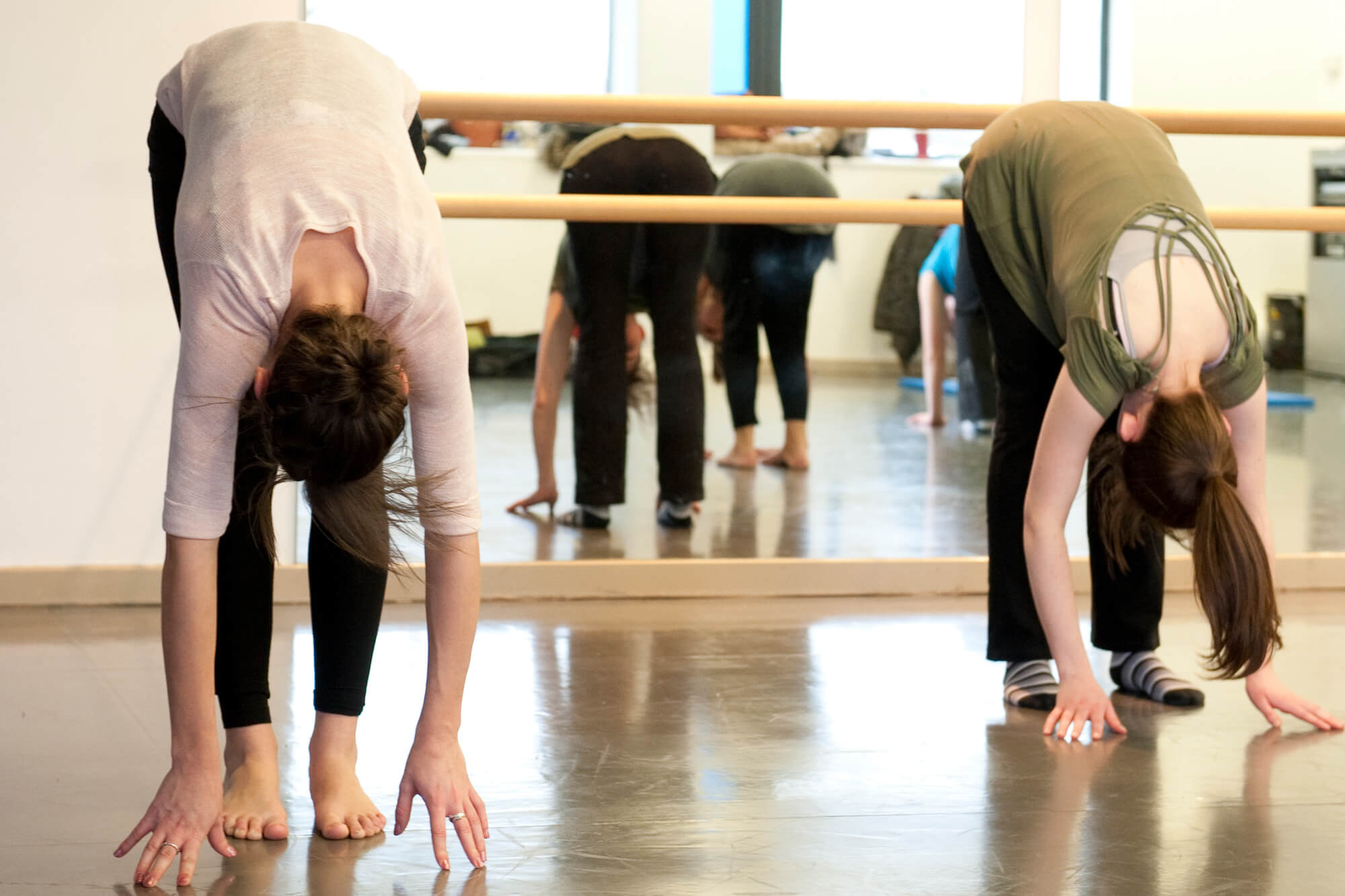 Students stretching in the Dance Studio