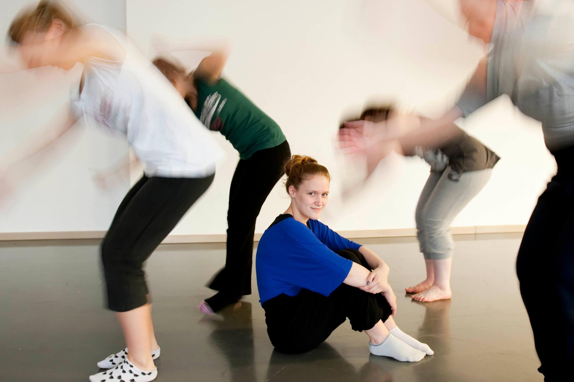 Students practicing in the Dance Studio