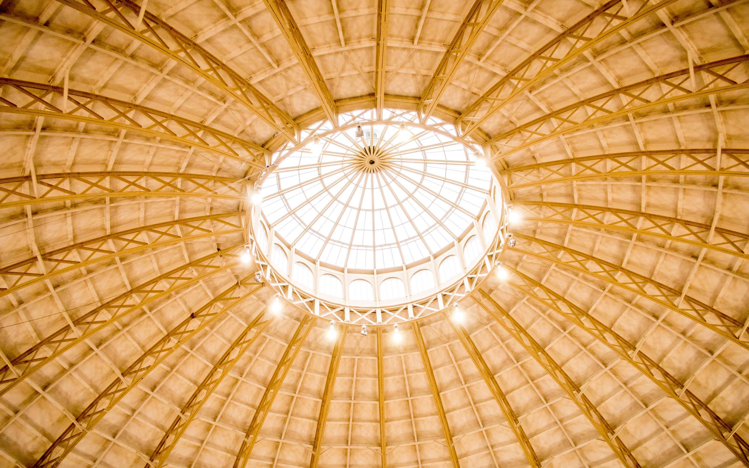 A roof of the Devonshire Dome in Buxton seen from the inside