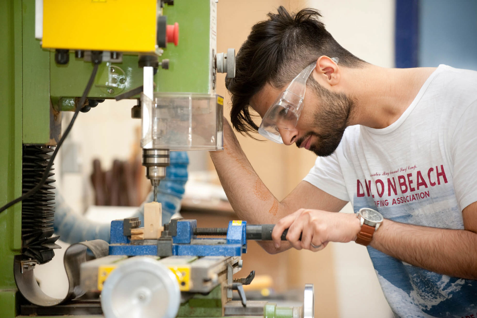A Product Design student in the workshops at Markeaton Street
