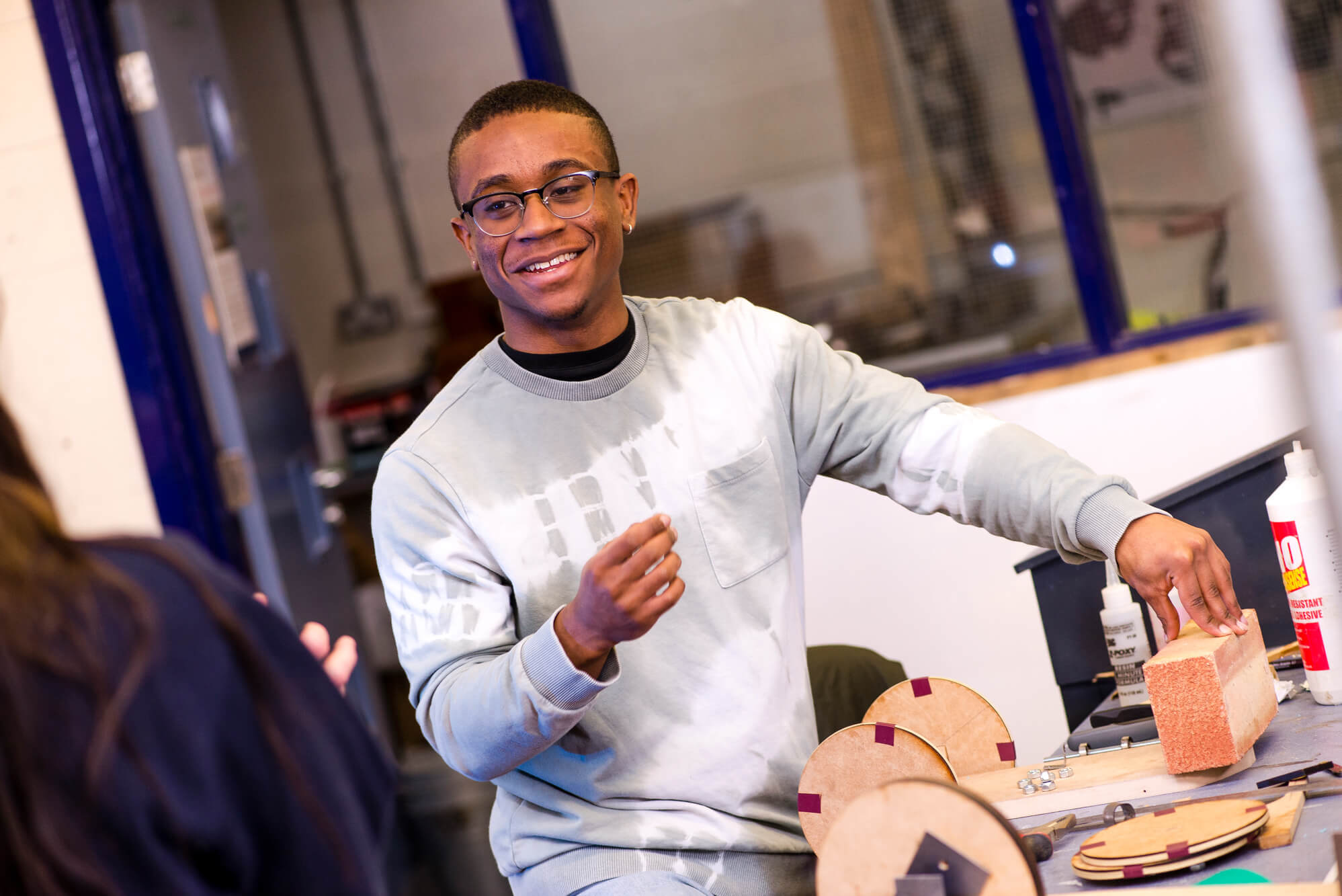 Product Design student in the workshops at Markeaton Street