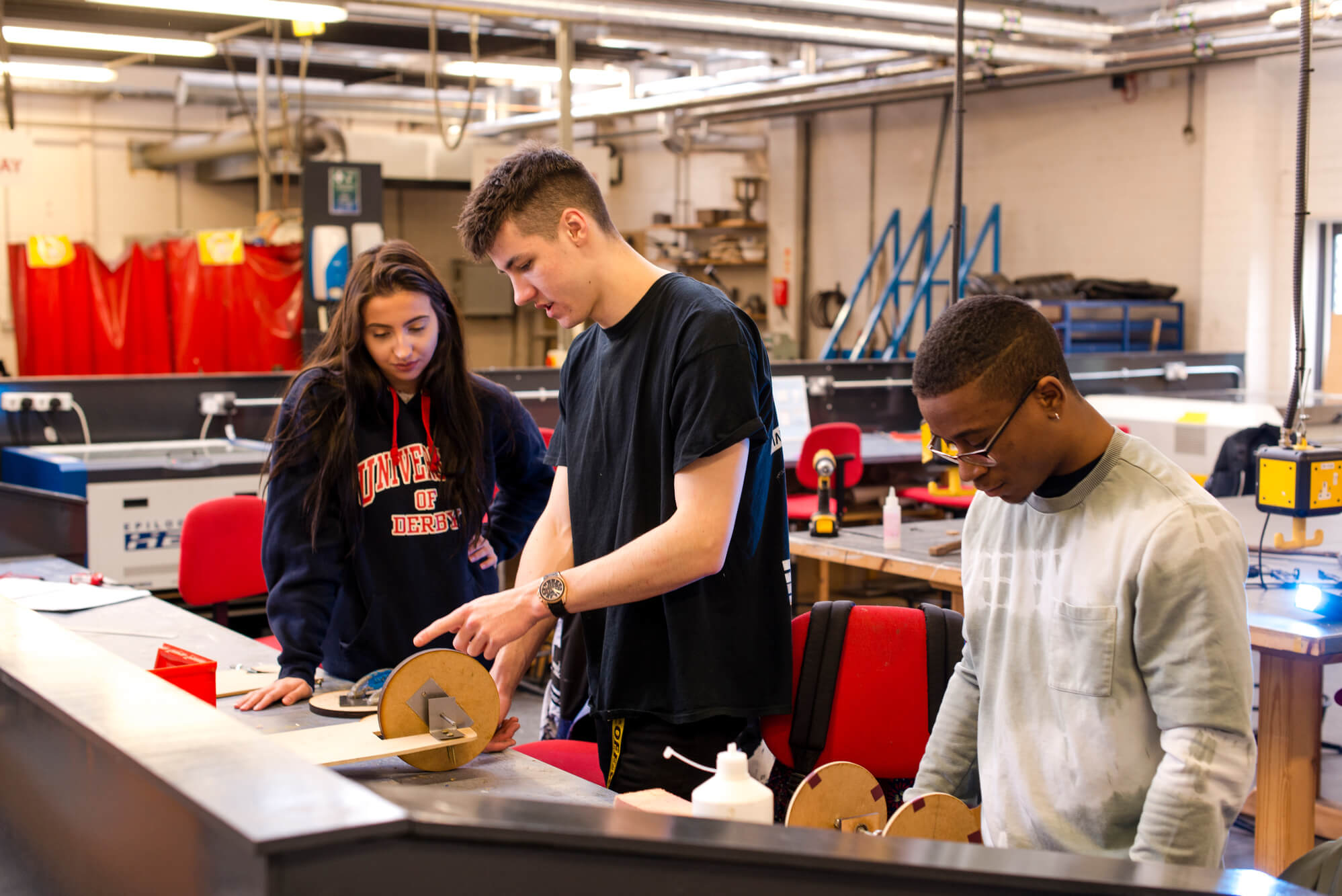 Product Design students building prototypes