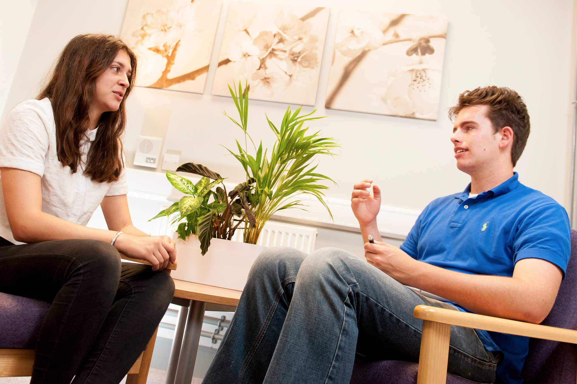 Interview taking place in the counselling room