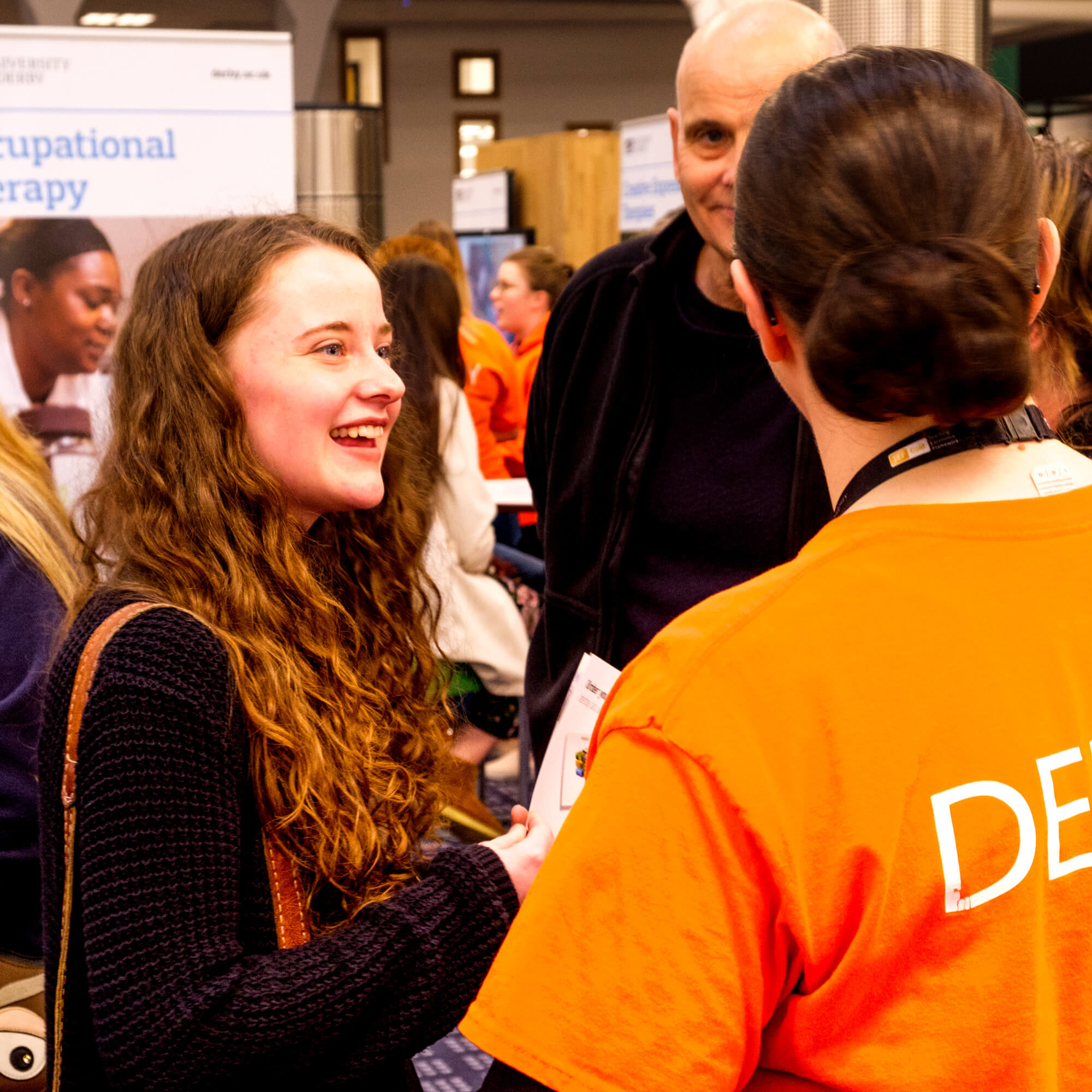 Girl talking to student ambassador at Open Day