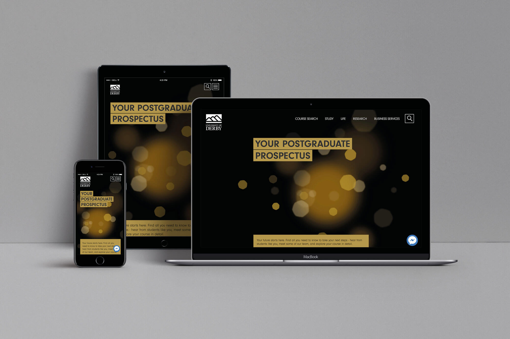 Mock up of a University of Derby digital postgraduate prospectus on a desktop, tablet and mobile device