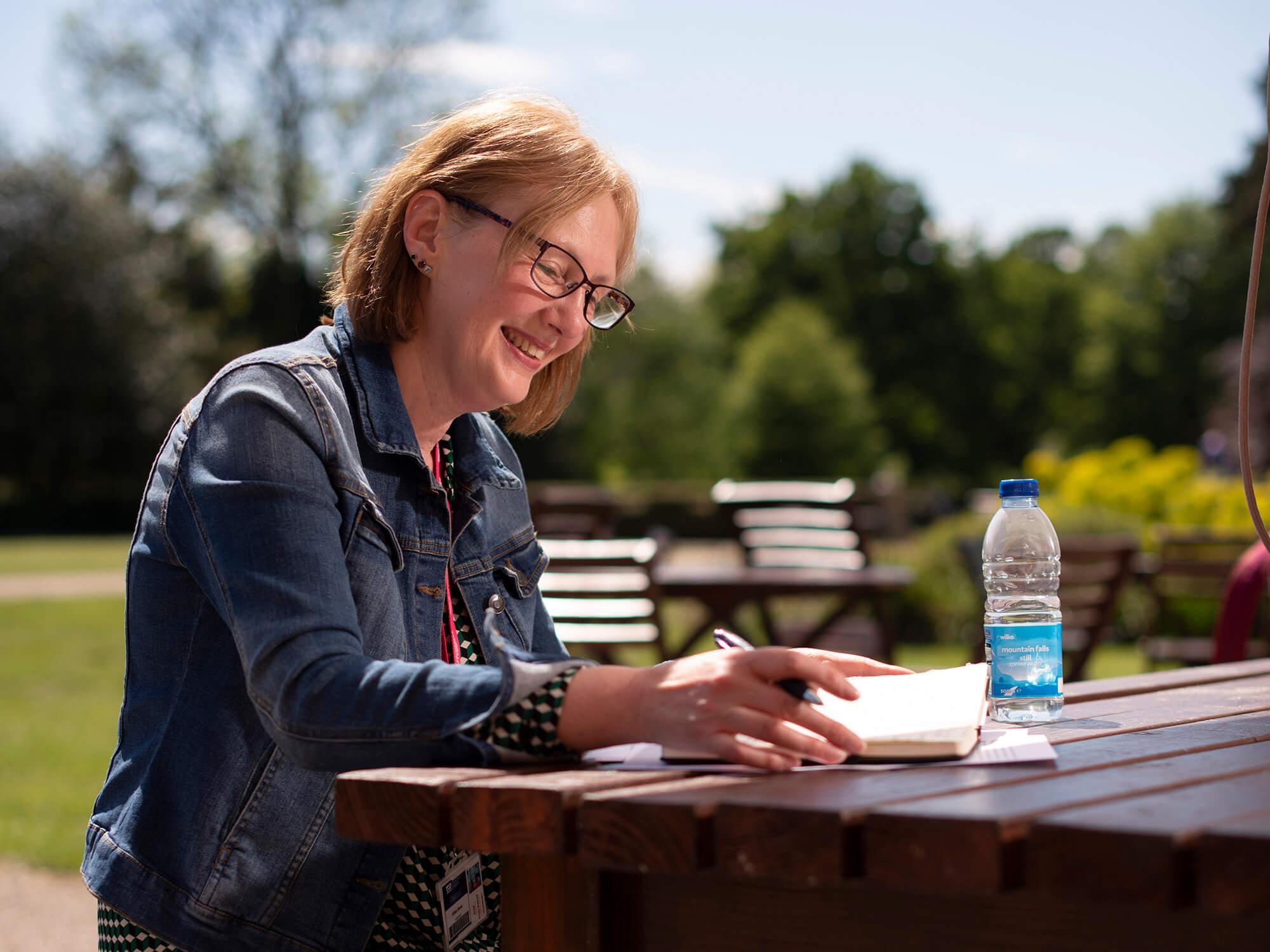 Jill Baker studying