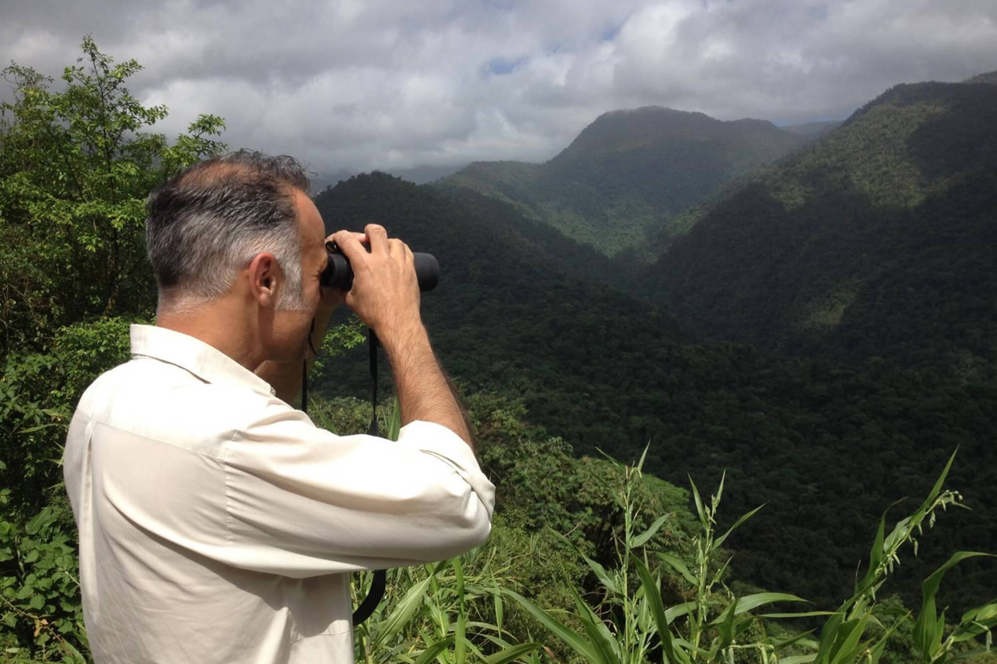 Professor Karim Vahed looking over the Costa Rican rainforest