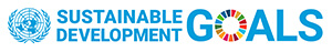 Sustainable Development Goals Logo. Text and a multi coloured circle for the letter O in