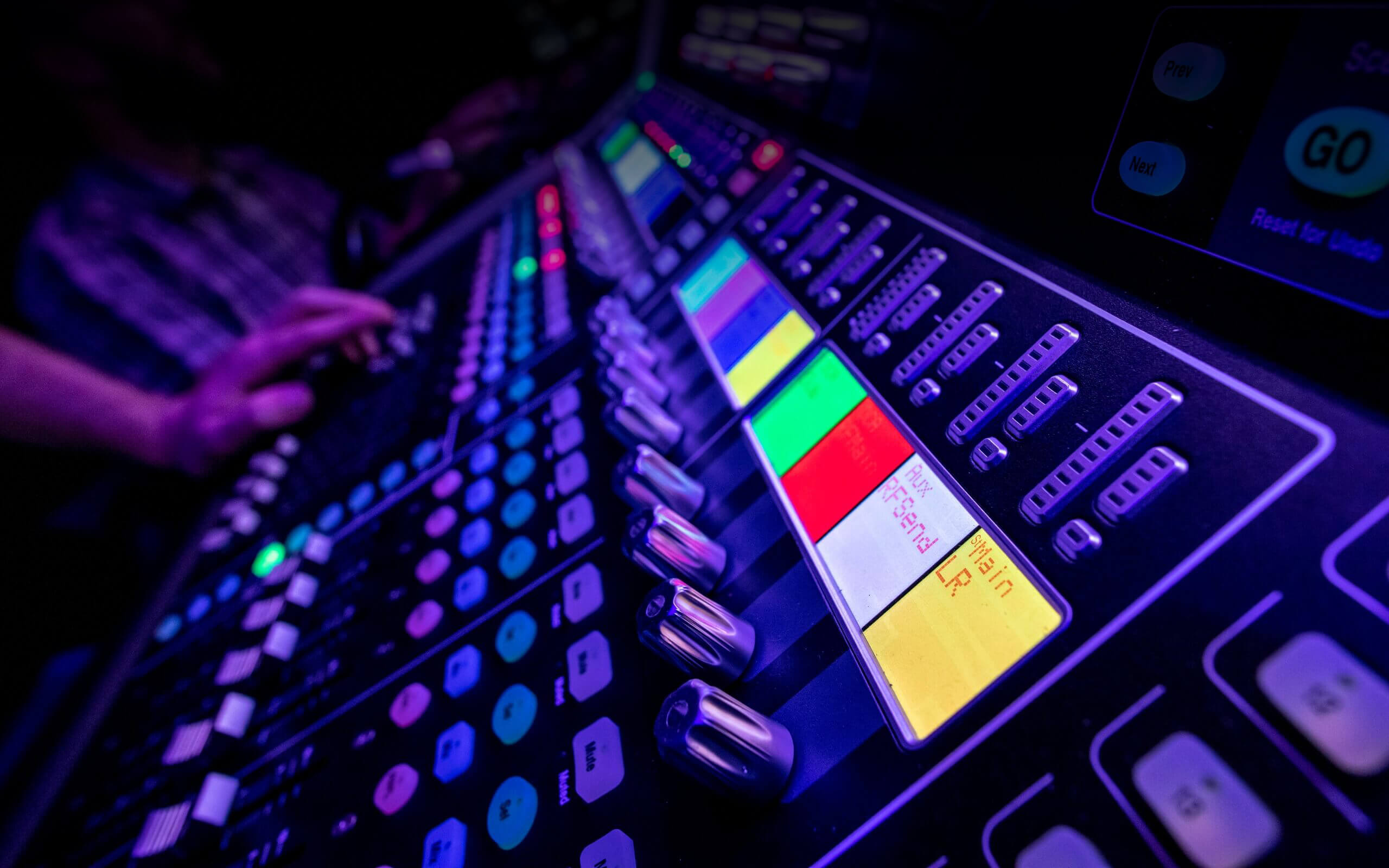 Close up of a sound desk used by Audio Engineering students