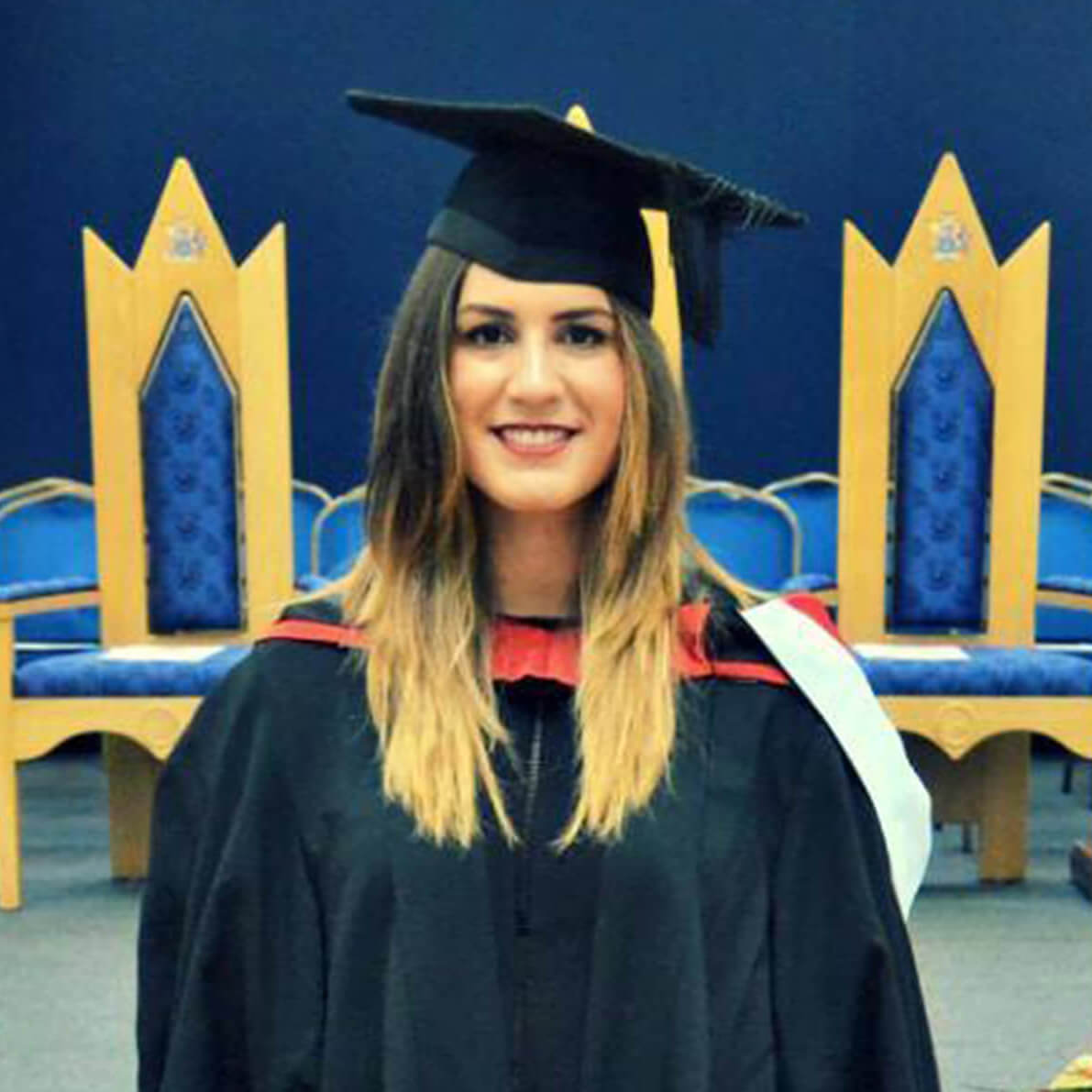 Chiara Giuliano at her graduation in her cap and gown