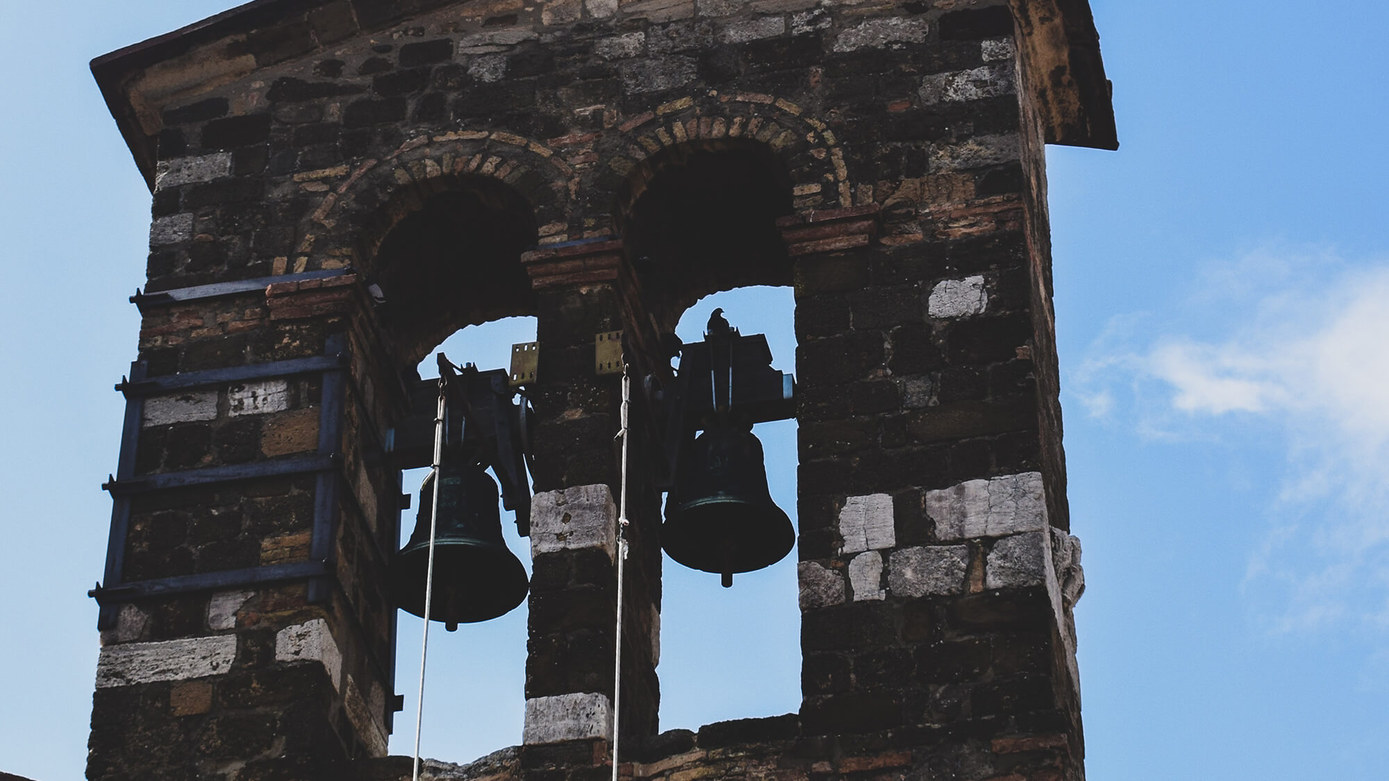2 church bells on a tower