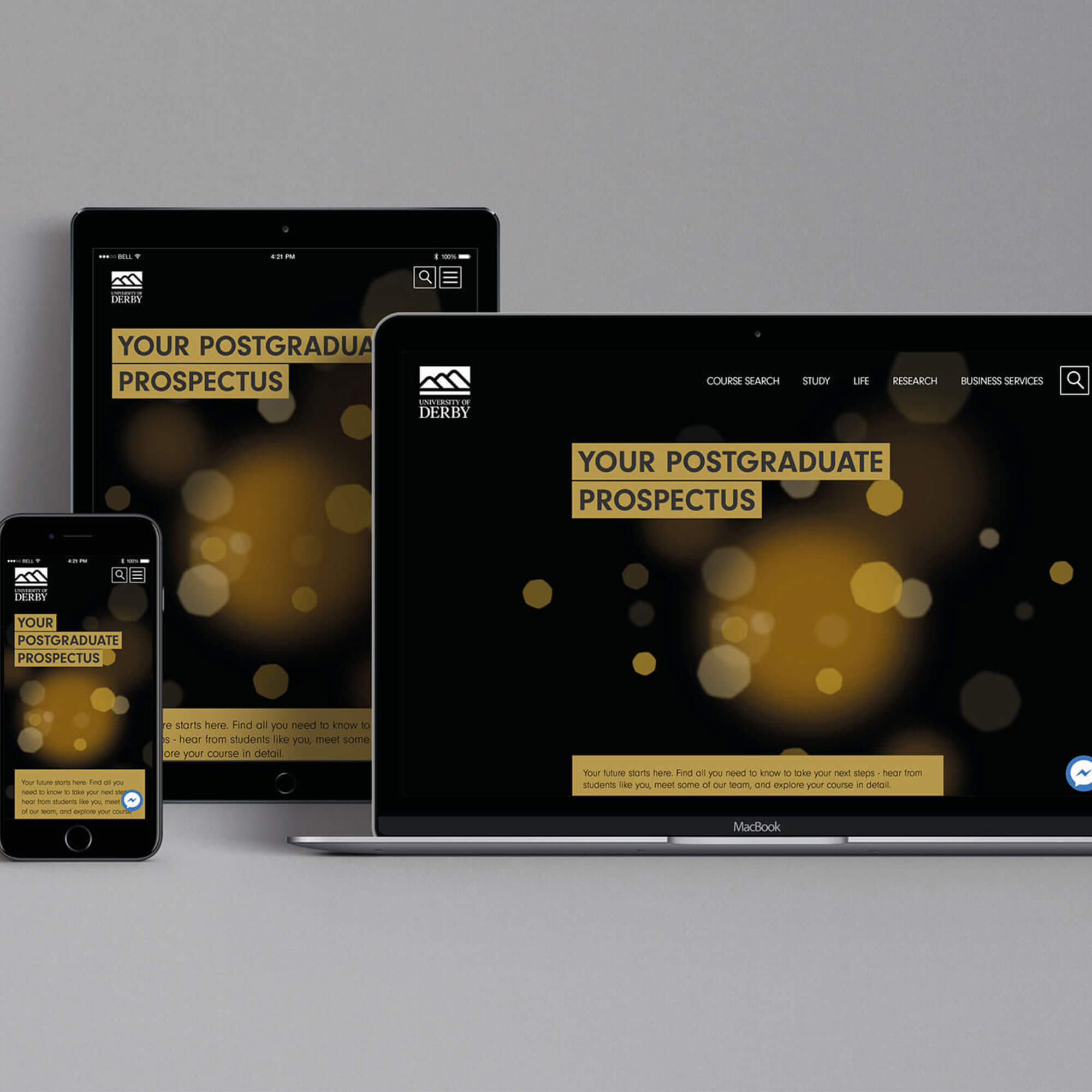 PG prospectus on a a laptop, tablet and mobile phone screen
