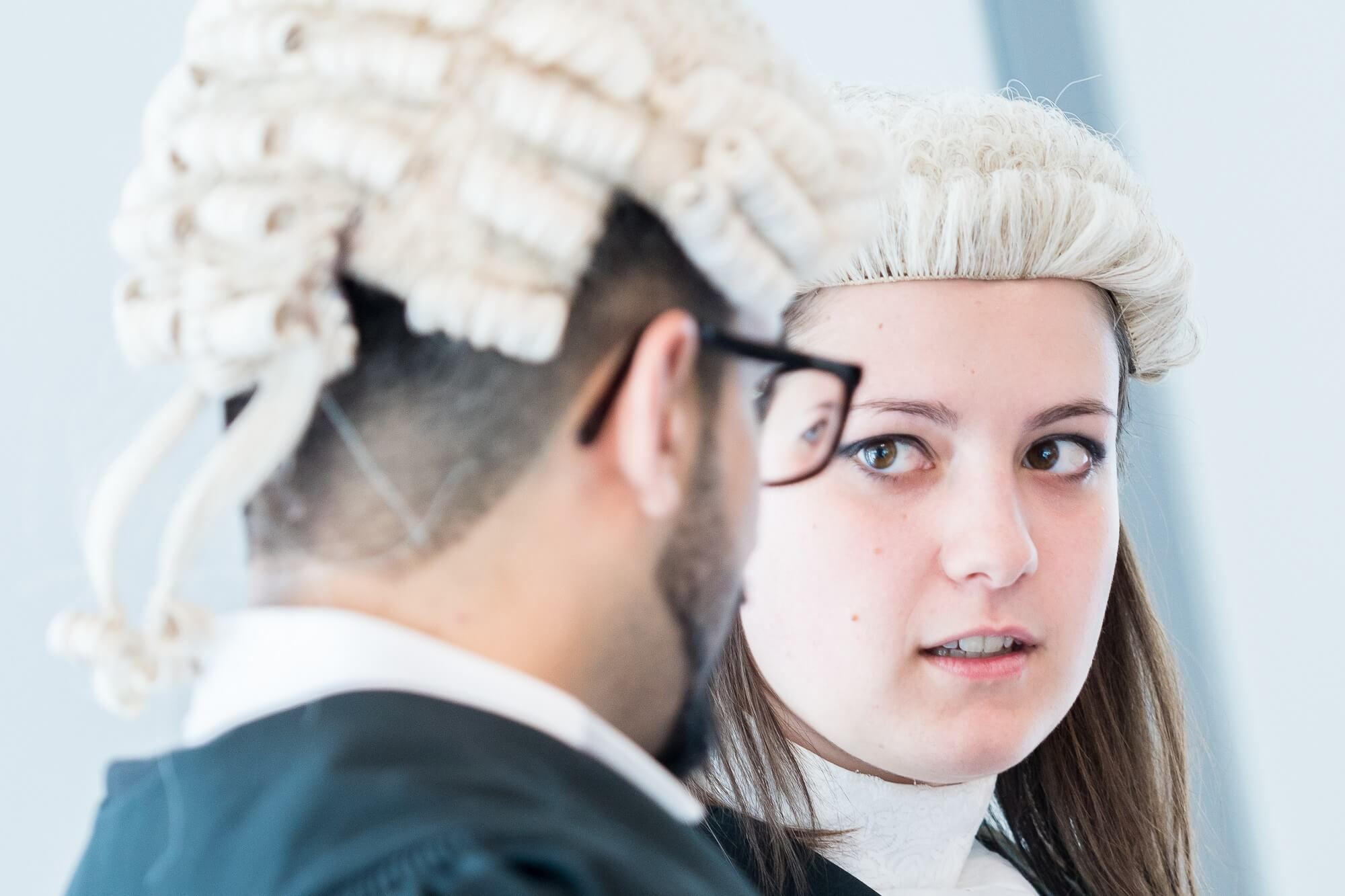 Two law students in wigs