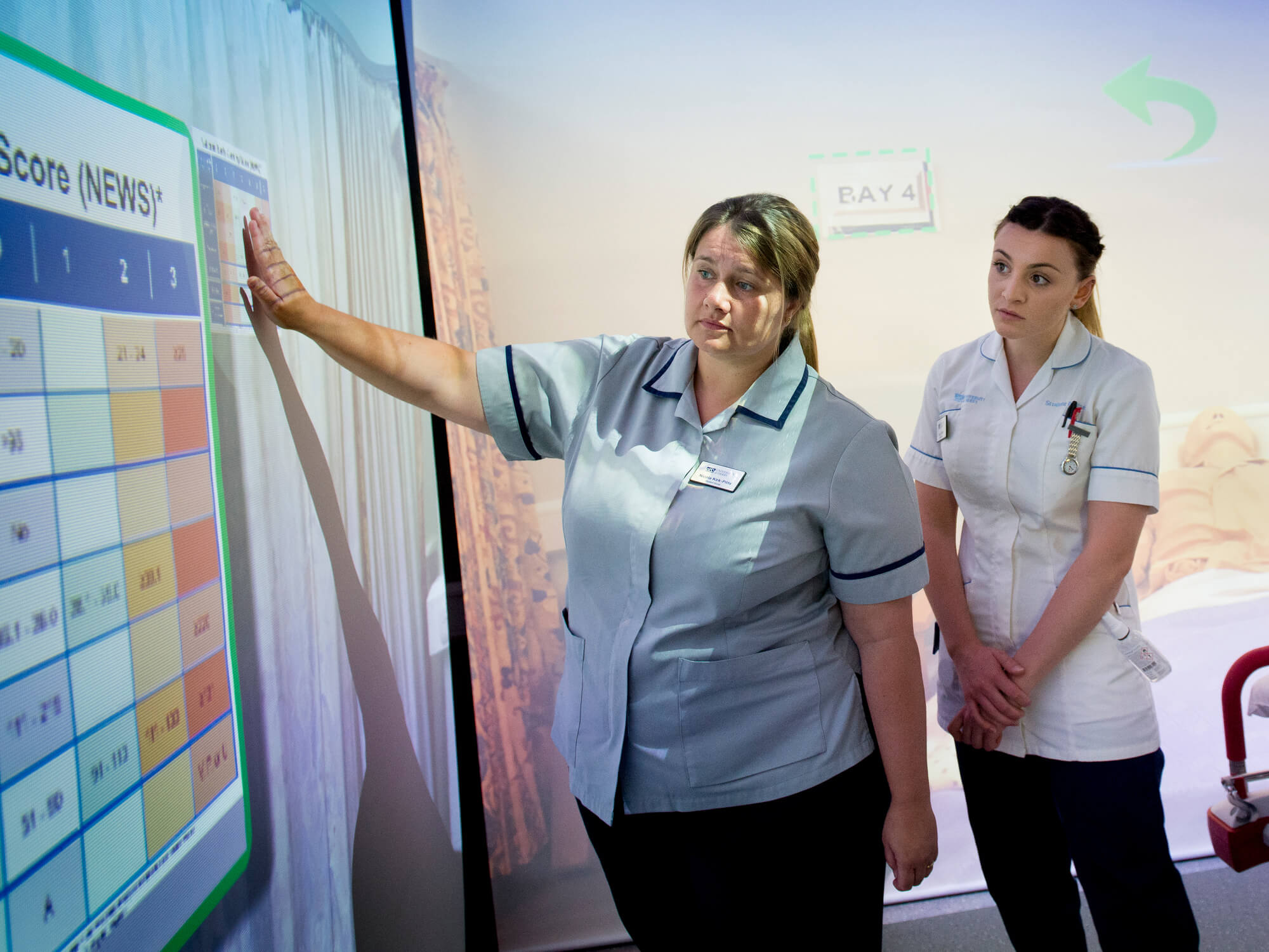 Student nursing learning nursing theory in the simularion suite