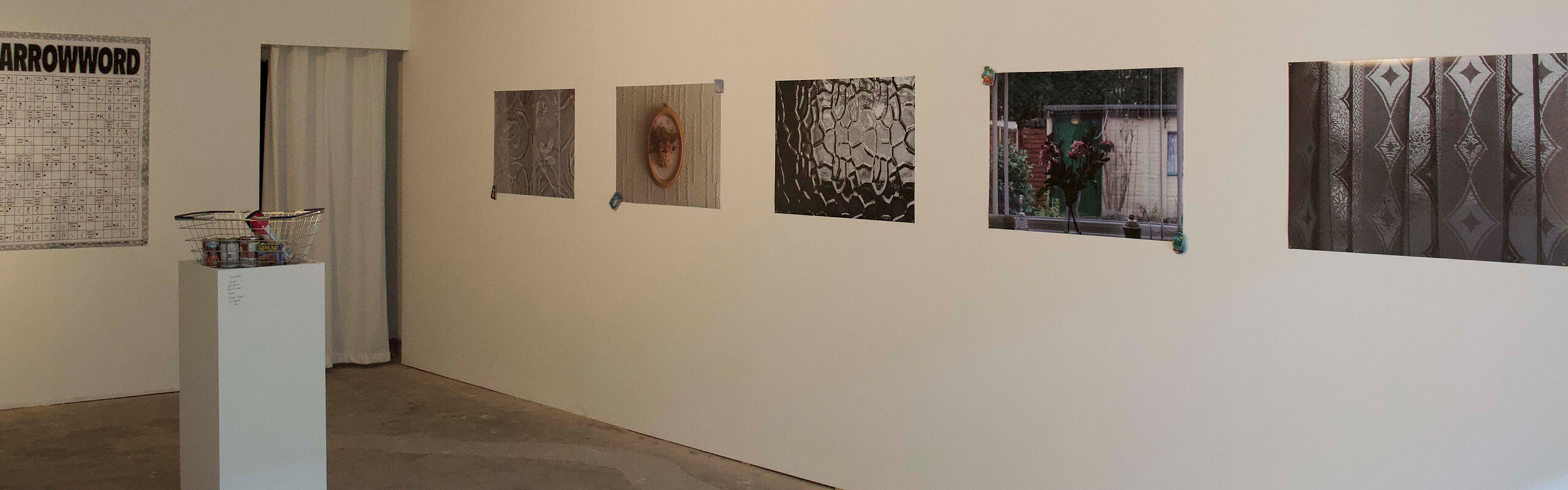Photos on a wall in an art exhibition
