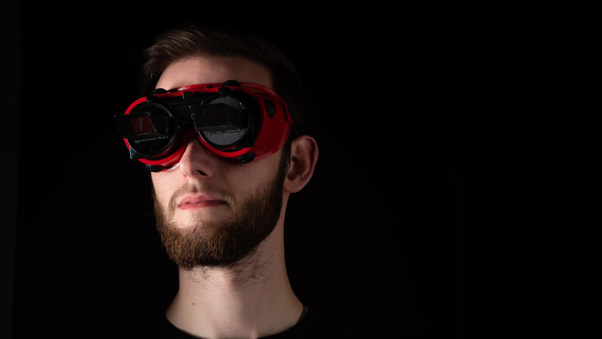 Student using eye tracking equipment
