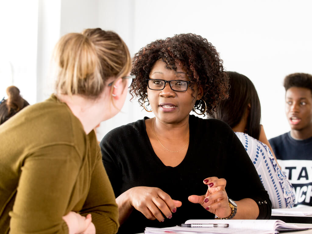 Counselling students sat in discussion