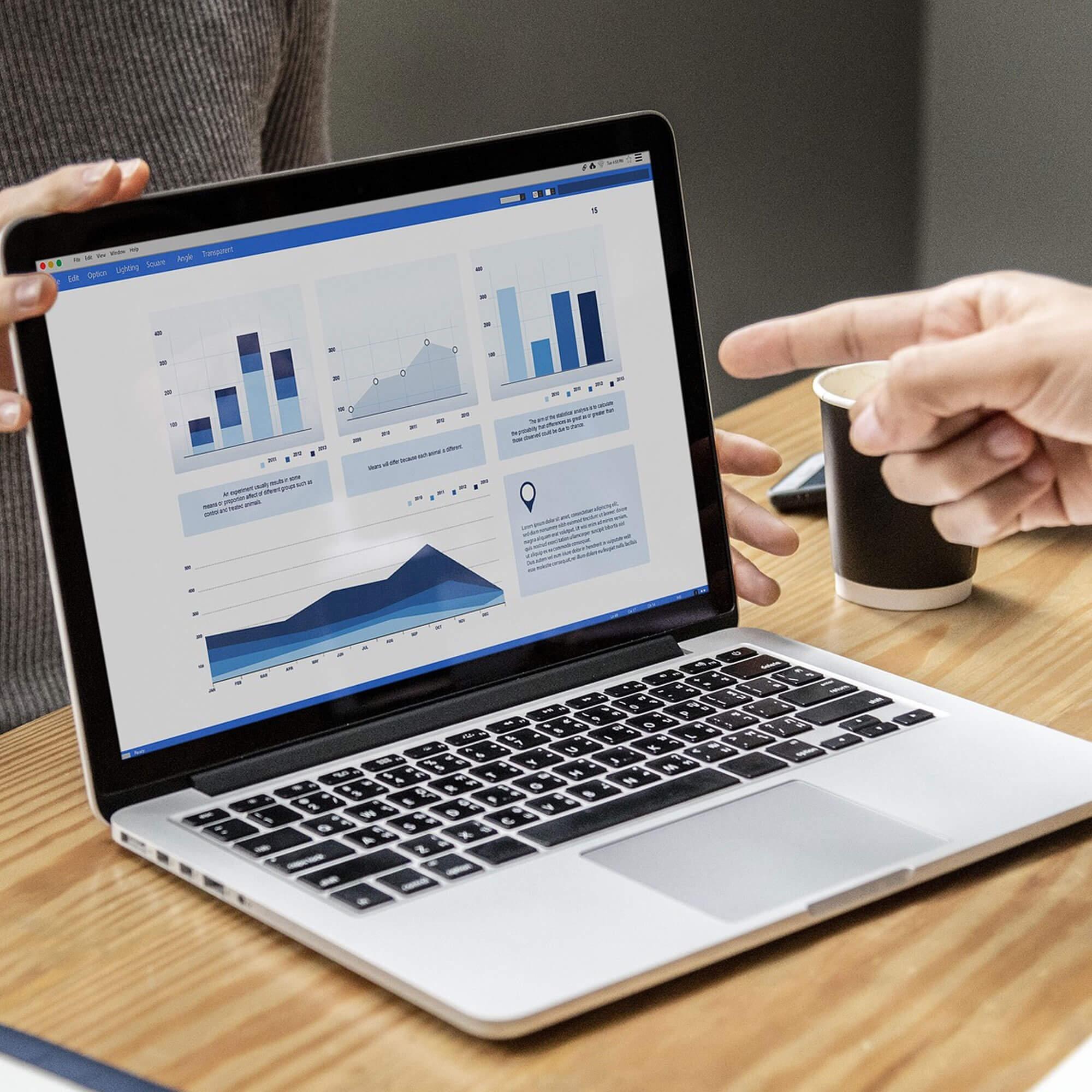 Laptop displaying a range of grids