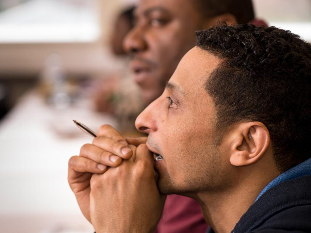 Mature student focusing in class