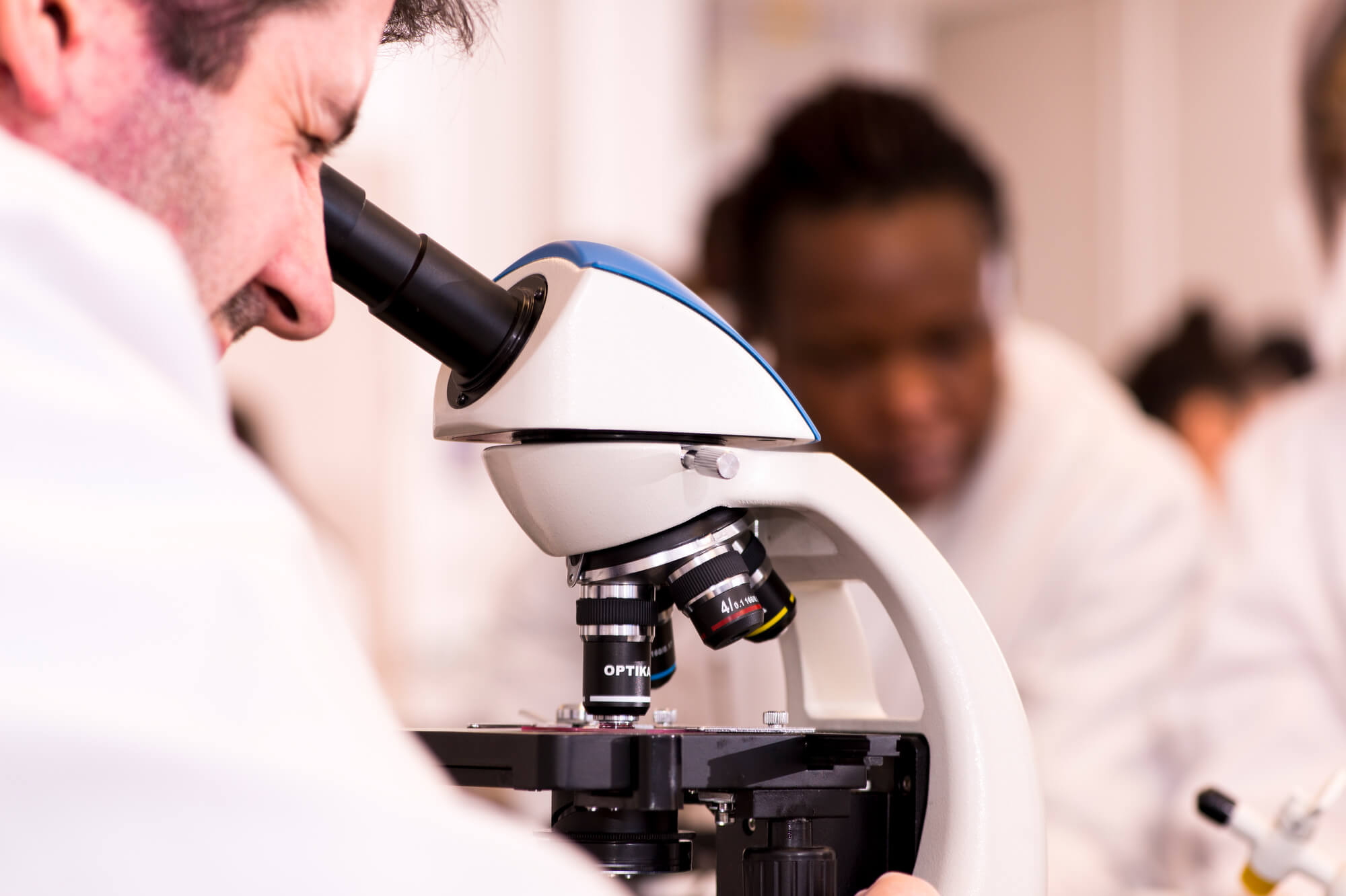 Human Biology student undertaking research using a microscope