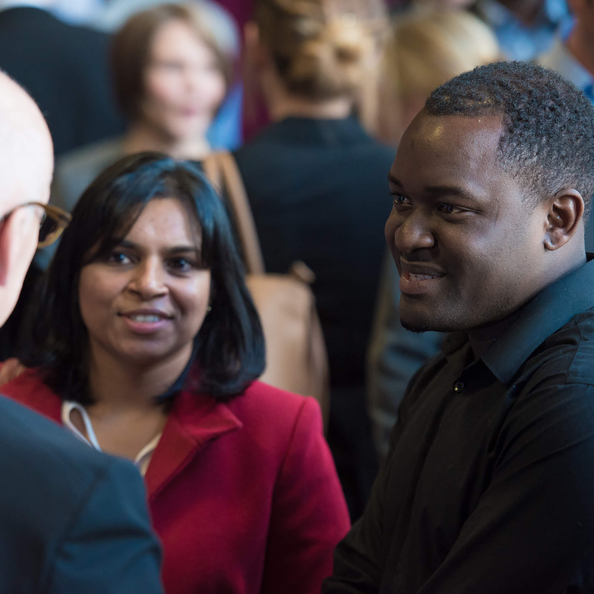 Students networking at Derby Business School event