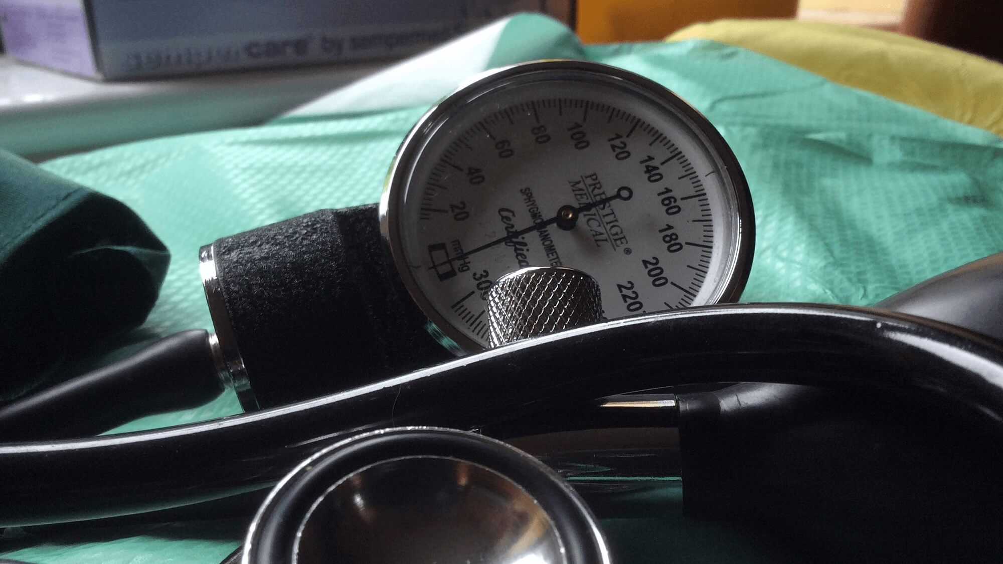 a gauge on a blood pressure cuff