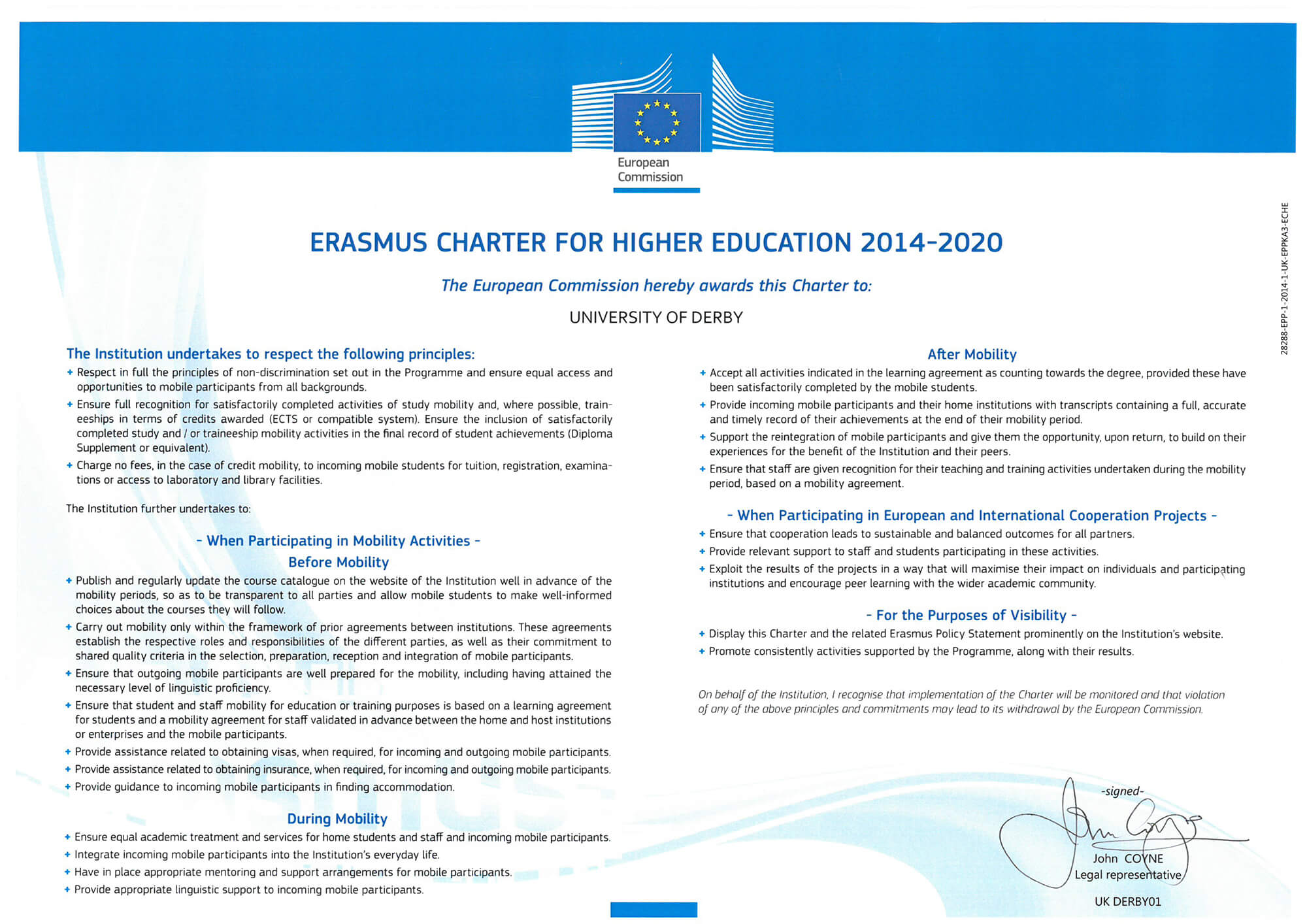 the University of Derby's Erasmus Charter