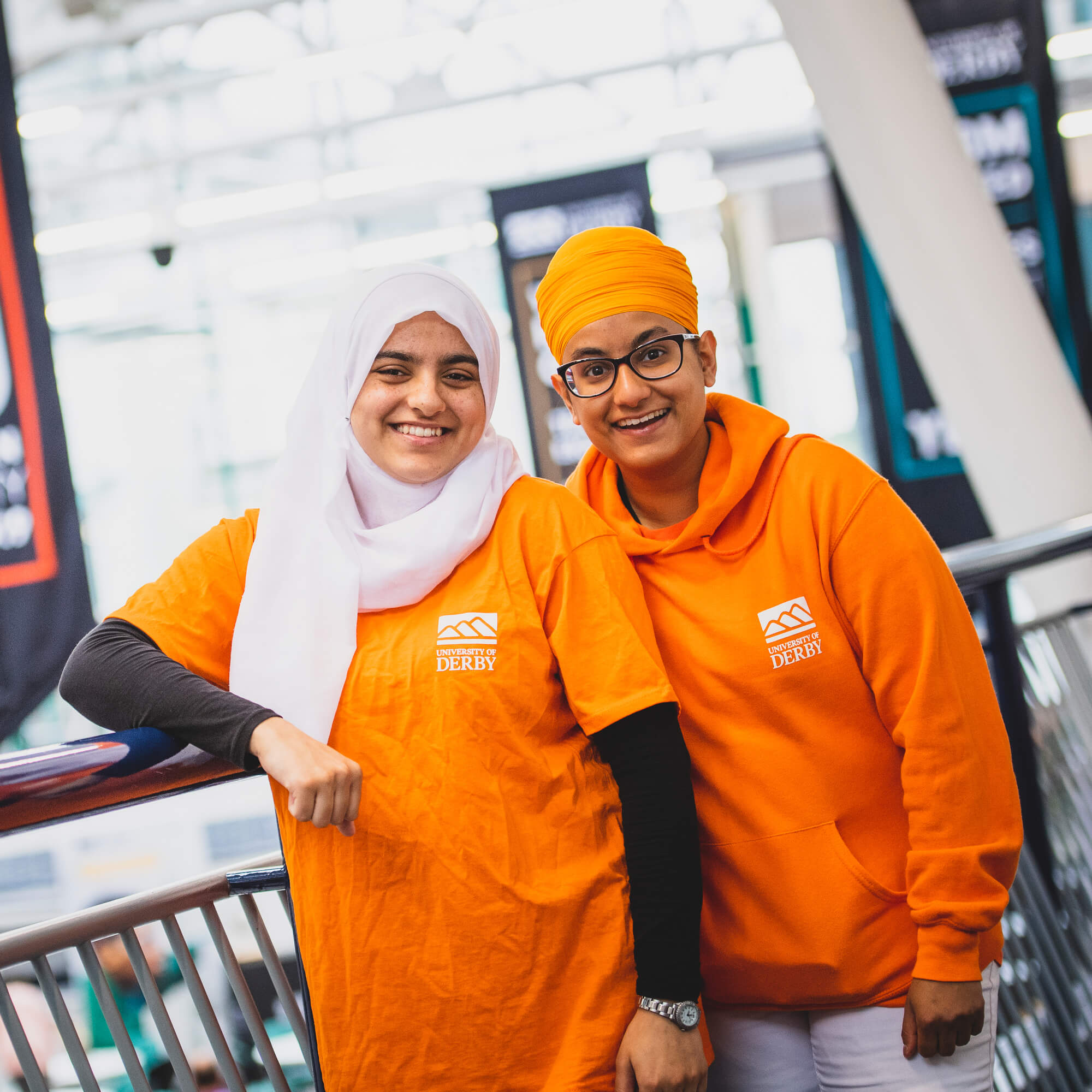 Two student ambassadors at Open Day on campus