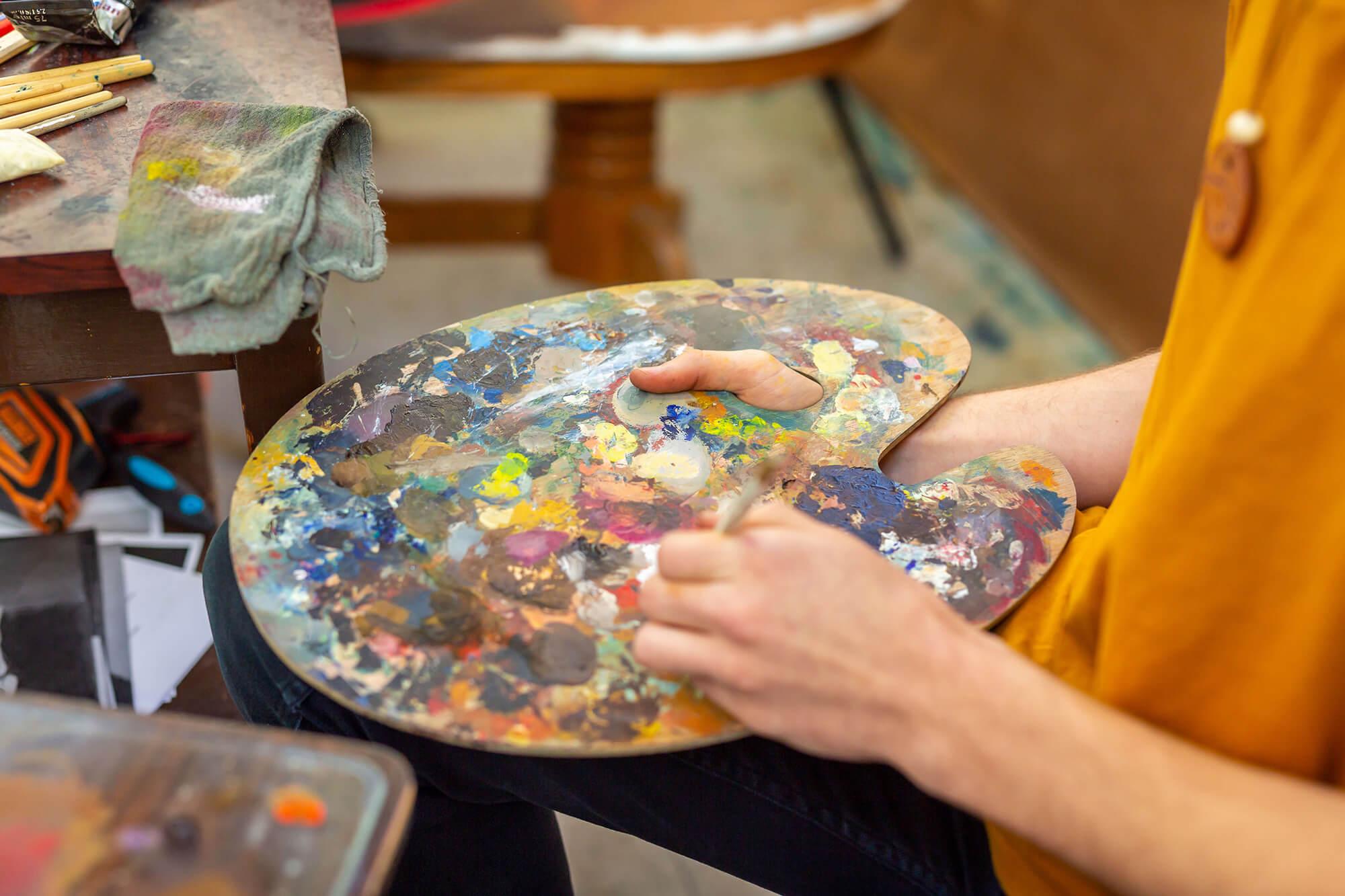 A Fine Art student's paint palette