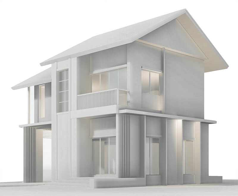 A digital design of a house.