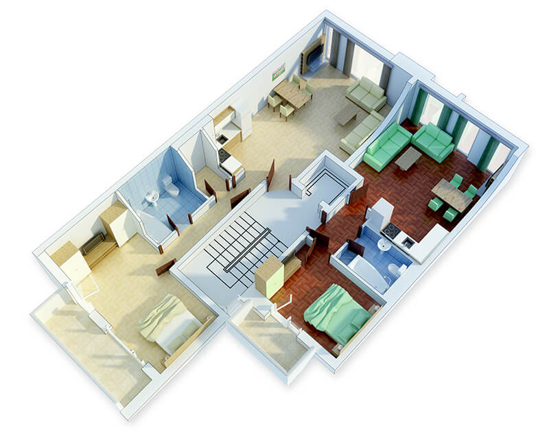 A computer-generated 3D drawing of the floor plan of two flats
