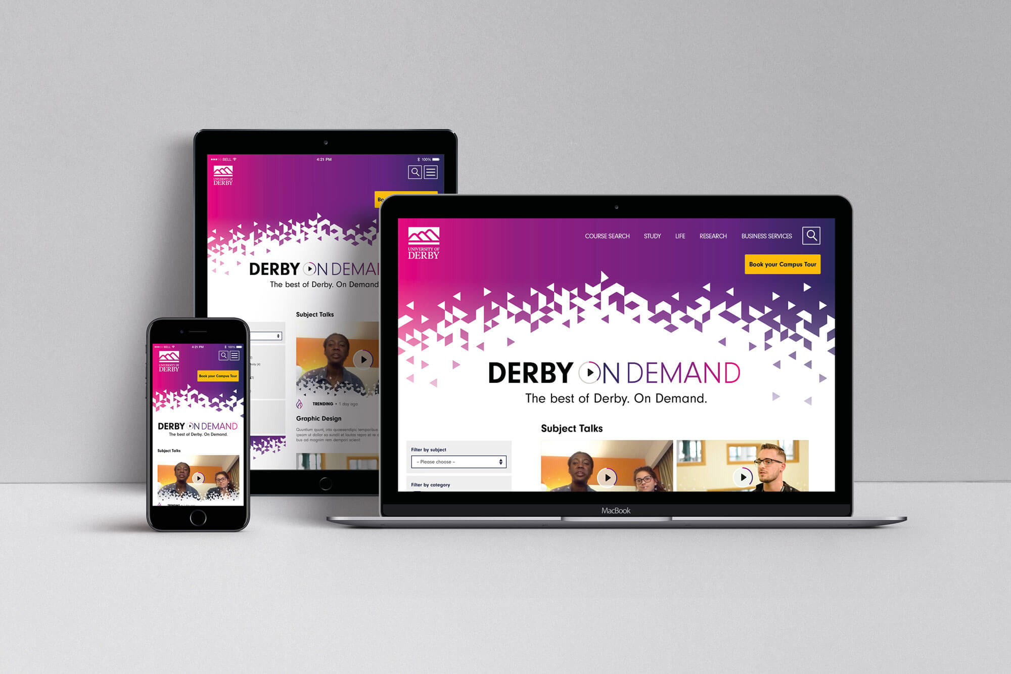 Mock up of Derby on Demand platform on a desktop, tablet and mobile device
