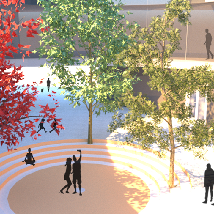 Drawing of outside space with trees and people walking through the area