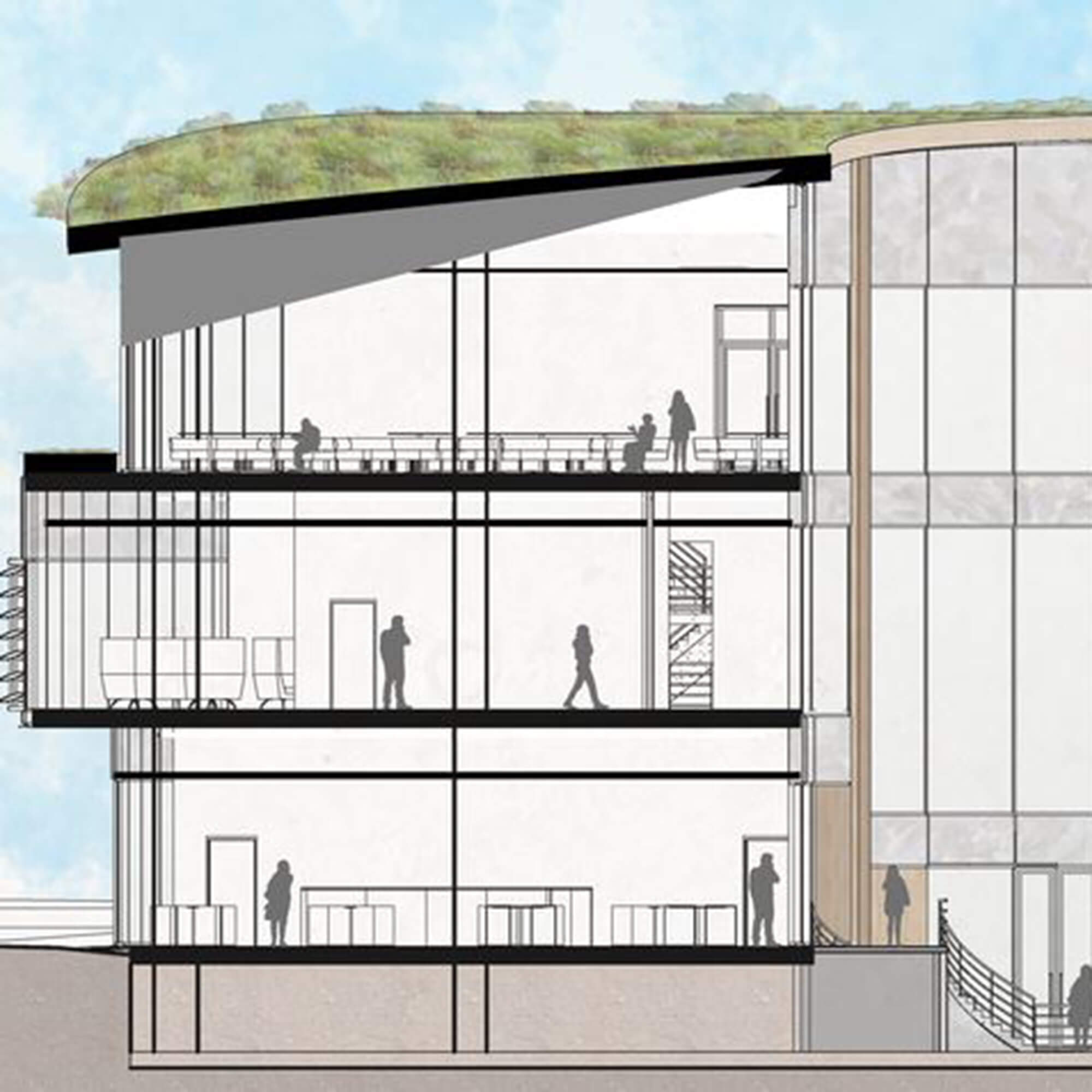 A drawing of 3 storey building make of glass with a grass roof