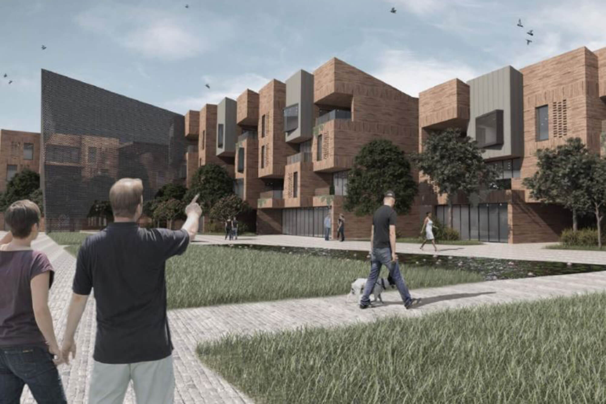 Virtual image of a building with people waking around outside