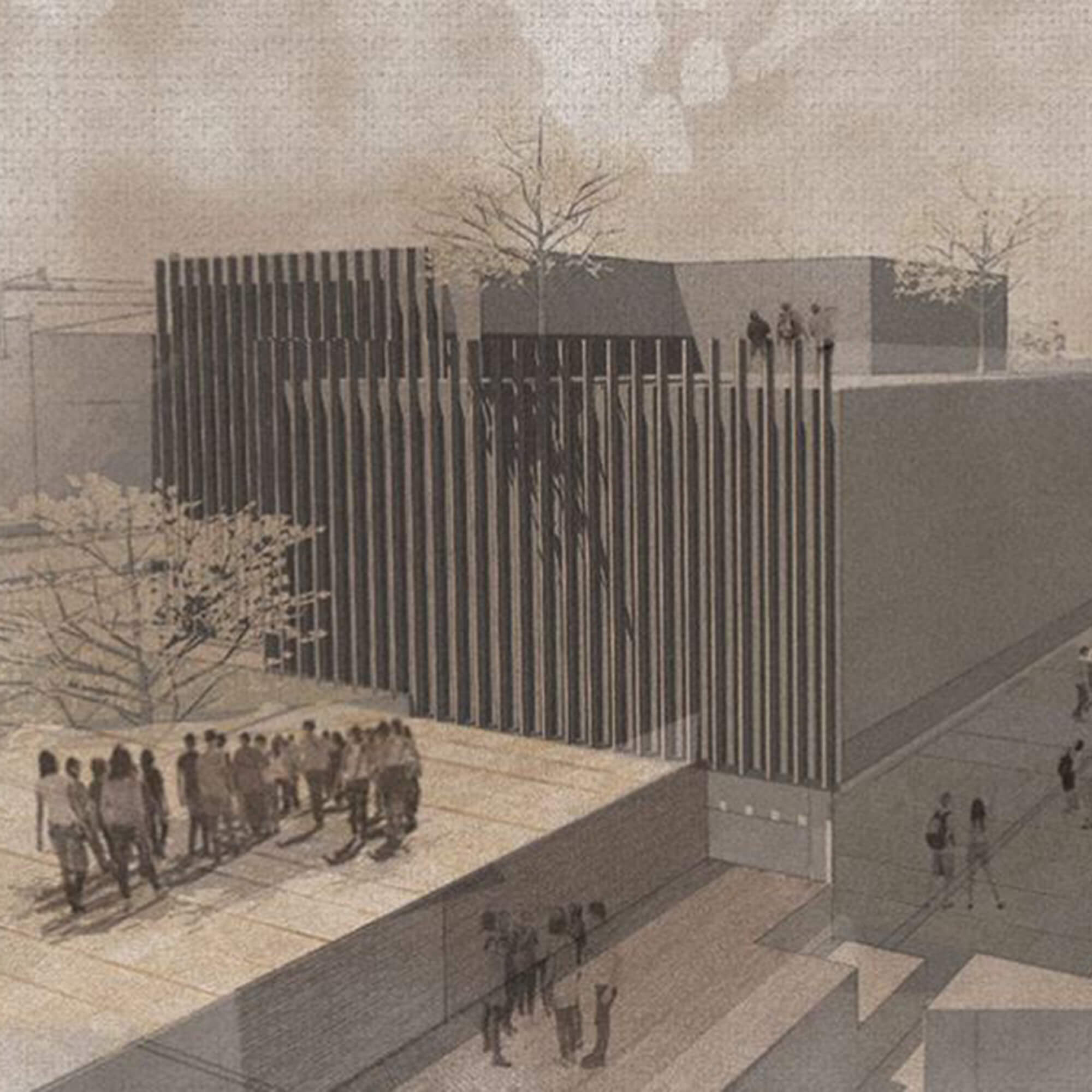 A drawing of the outside of a building with people in groups and walking around it.