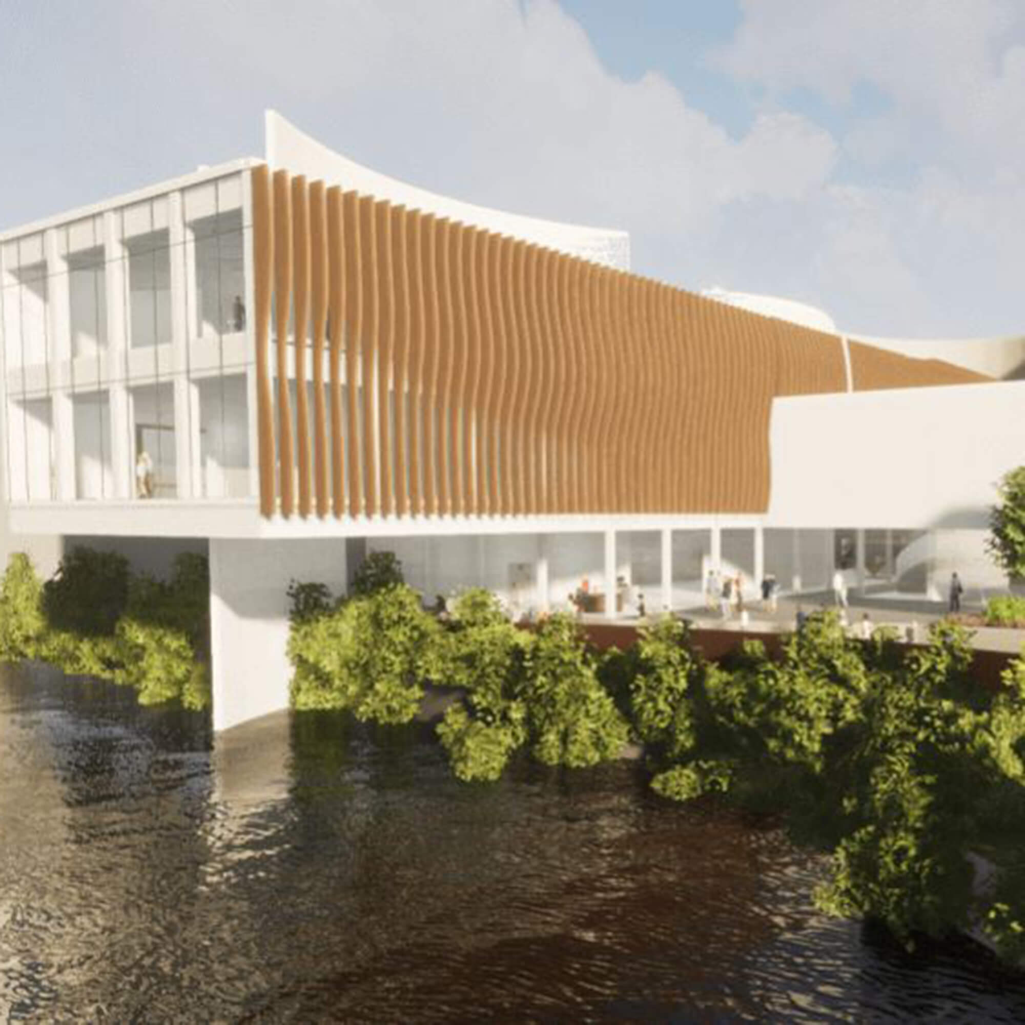 A drawing of a white and wood gallery and studios building by the side of a river with trees surrounding the building